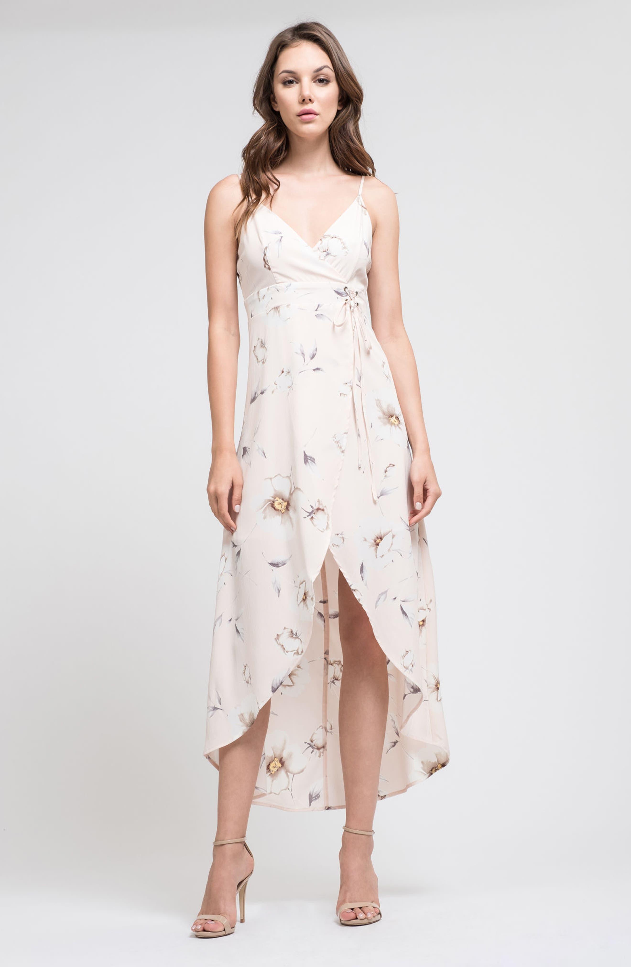 Faux Wrap Midi Dress,                             Alternate thumbnail 2, color,                             Blush Floral