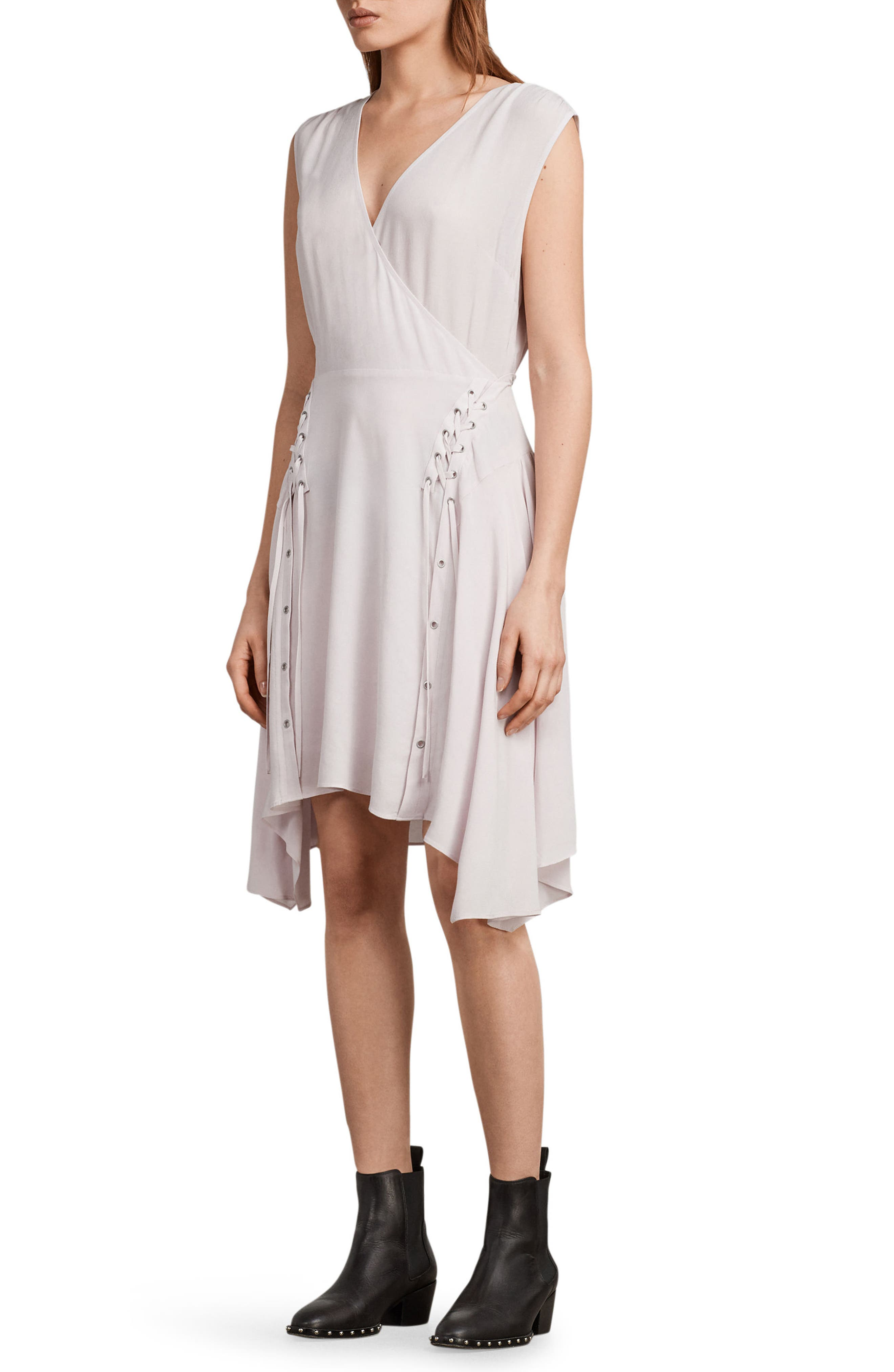 Miller Lace-Up Dress,                             Alternate thumbnail 6, color,                             Lilac Pink