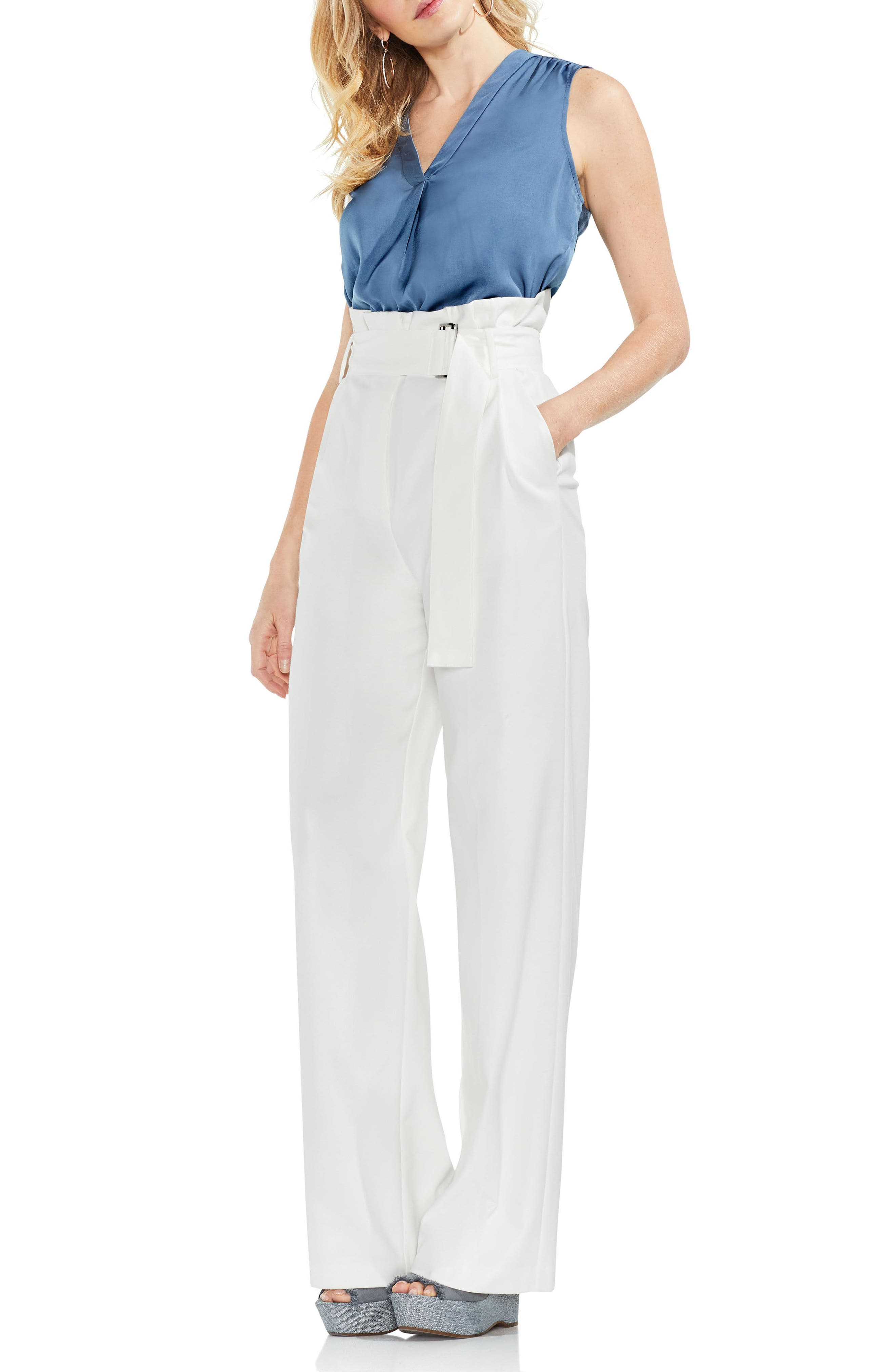 Wide Leg Belted Pants,                             Alternate thumbnail 3, color,                             New Ivory