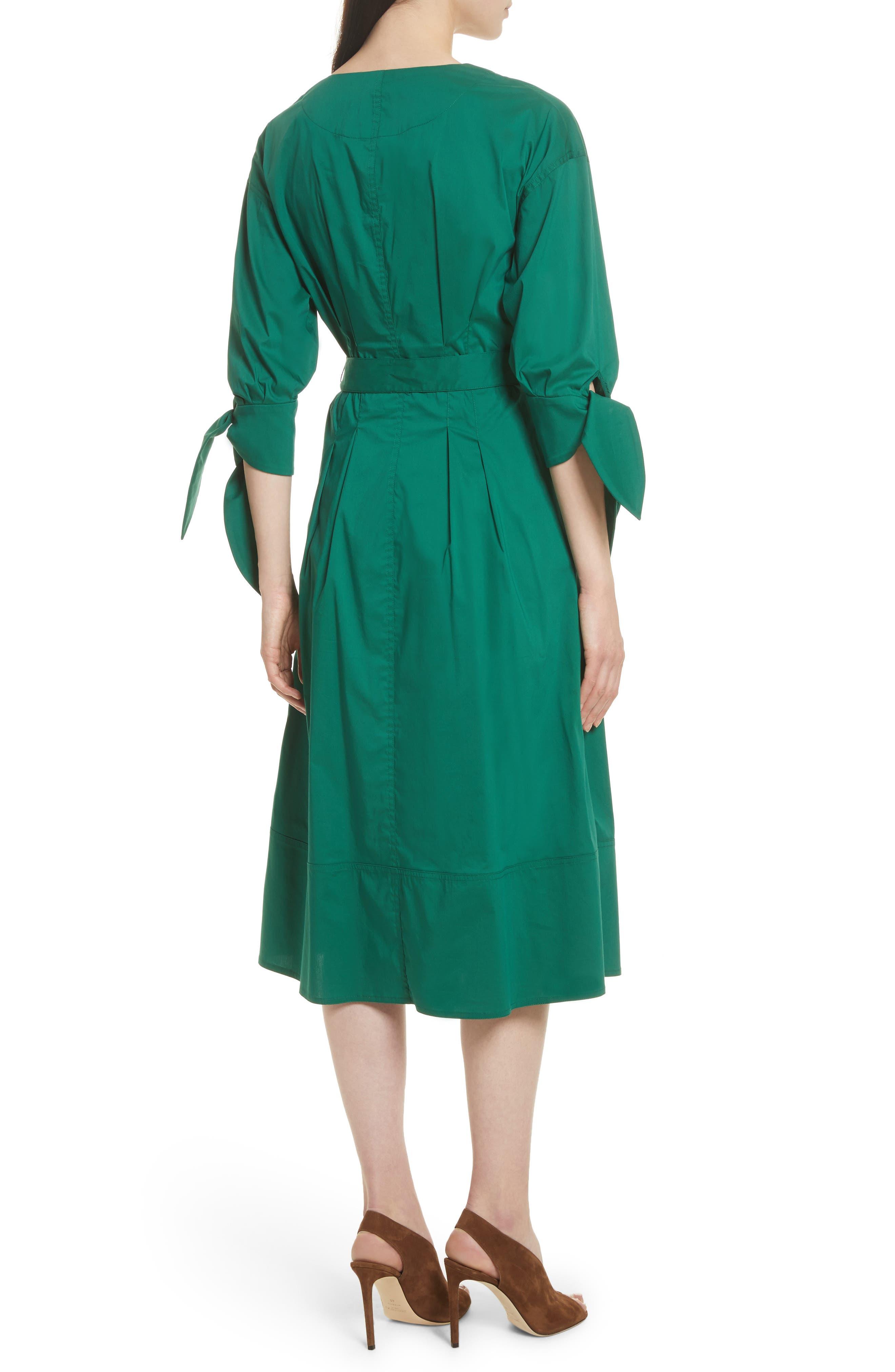 Cotton Blend Tie Dress,                             Alternate thumbnail 3, color,                             Emerald