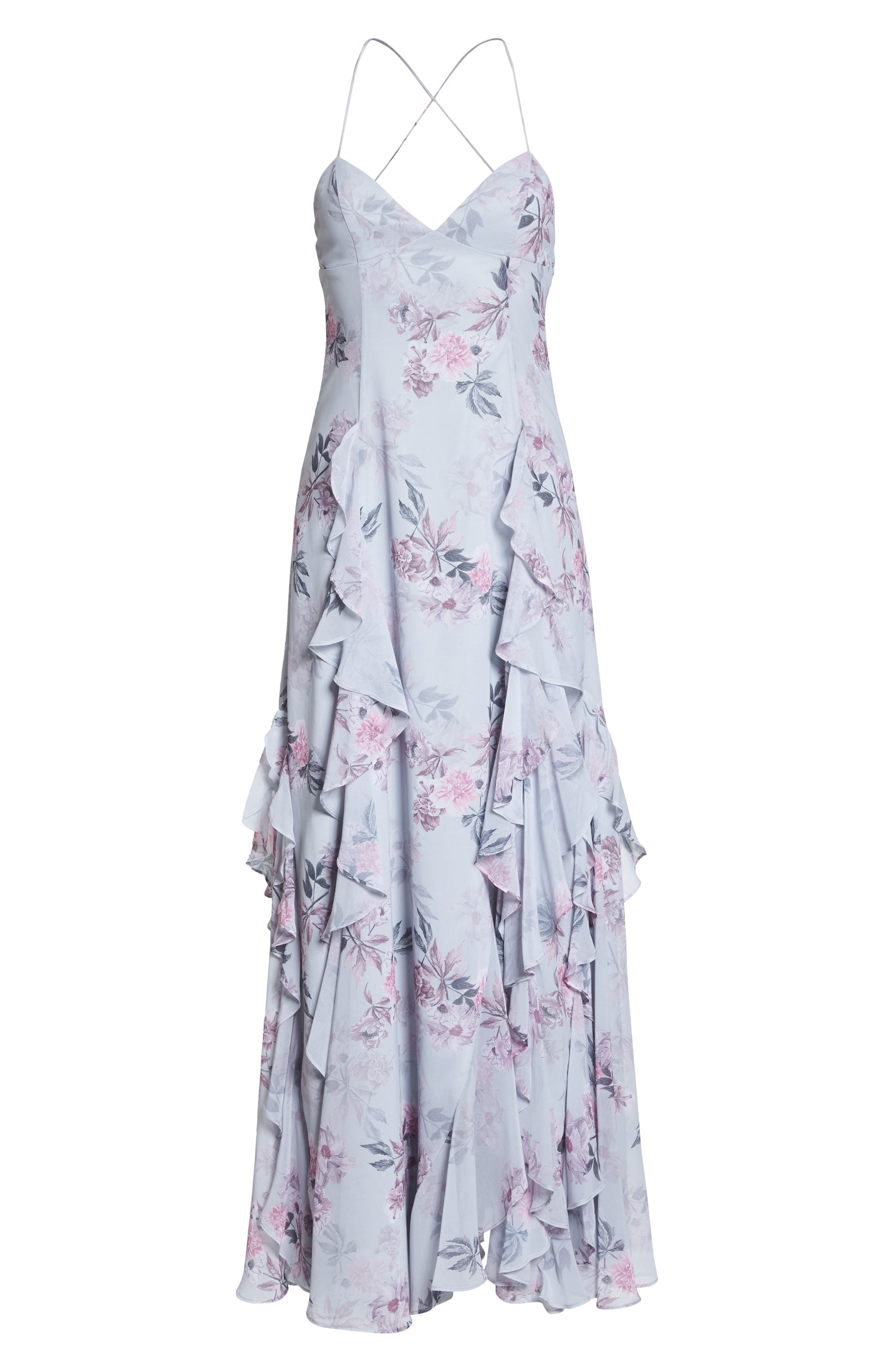 Nav Ruffle Gown,                             Alternate thumbnail 6, color,                             Dream Floral