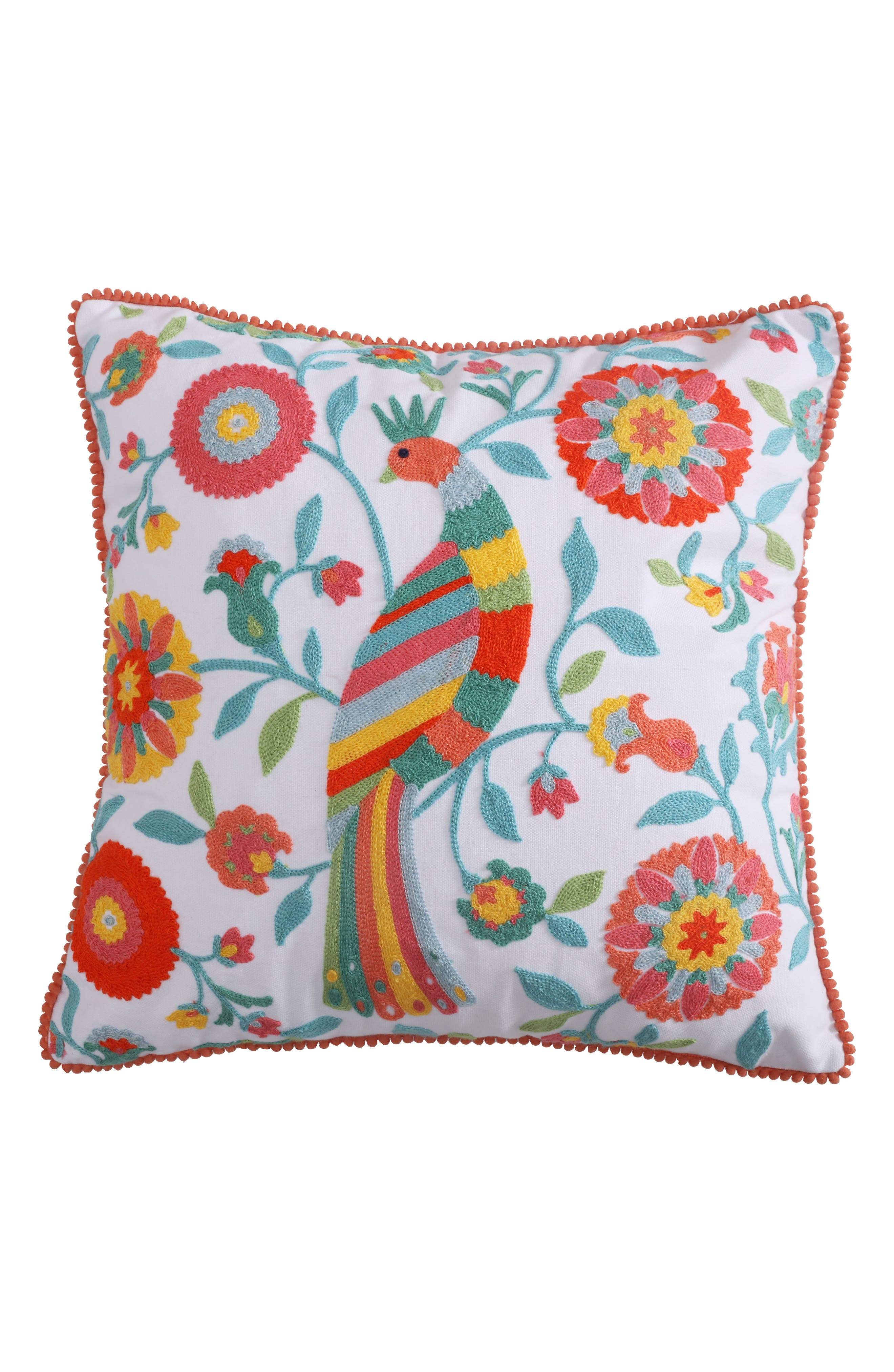 Lori Embroidered Accent Pillow,                             Main thumbnail 1, color,                             Coral