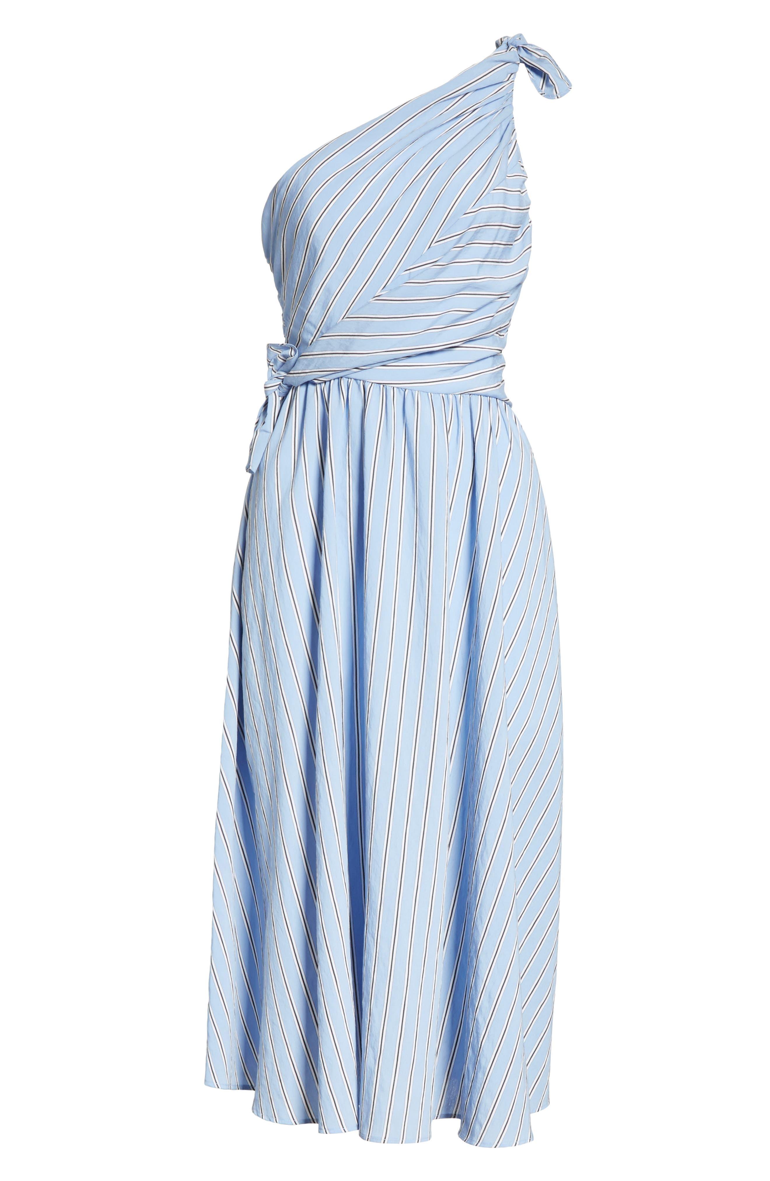 Cabrera Stripe One-Shoulder Dress,                             Alternate thumbnail 6, color,                             Olxford Blue