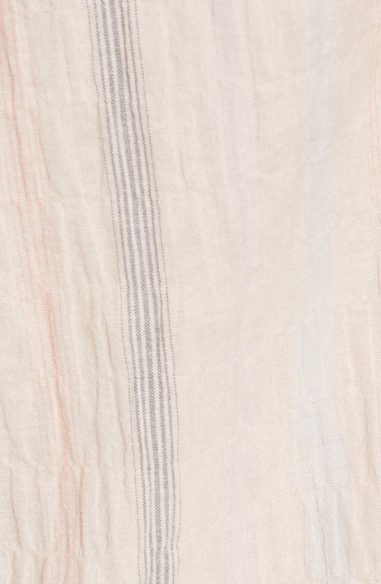 Ruffle Neck Stripe Top,                             Alternate thumbnail 5, color,                             Ballet Combo