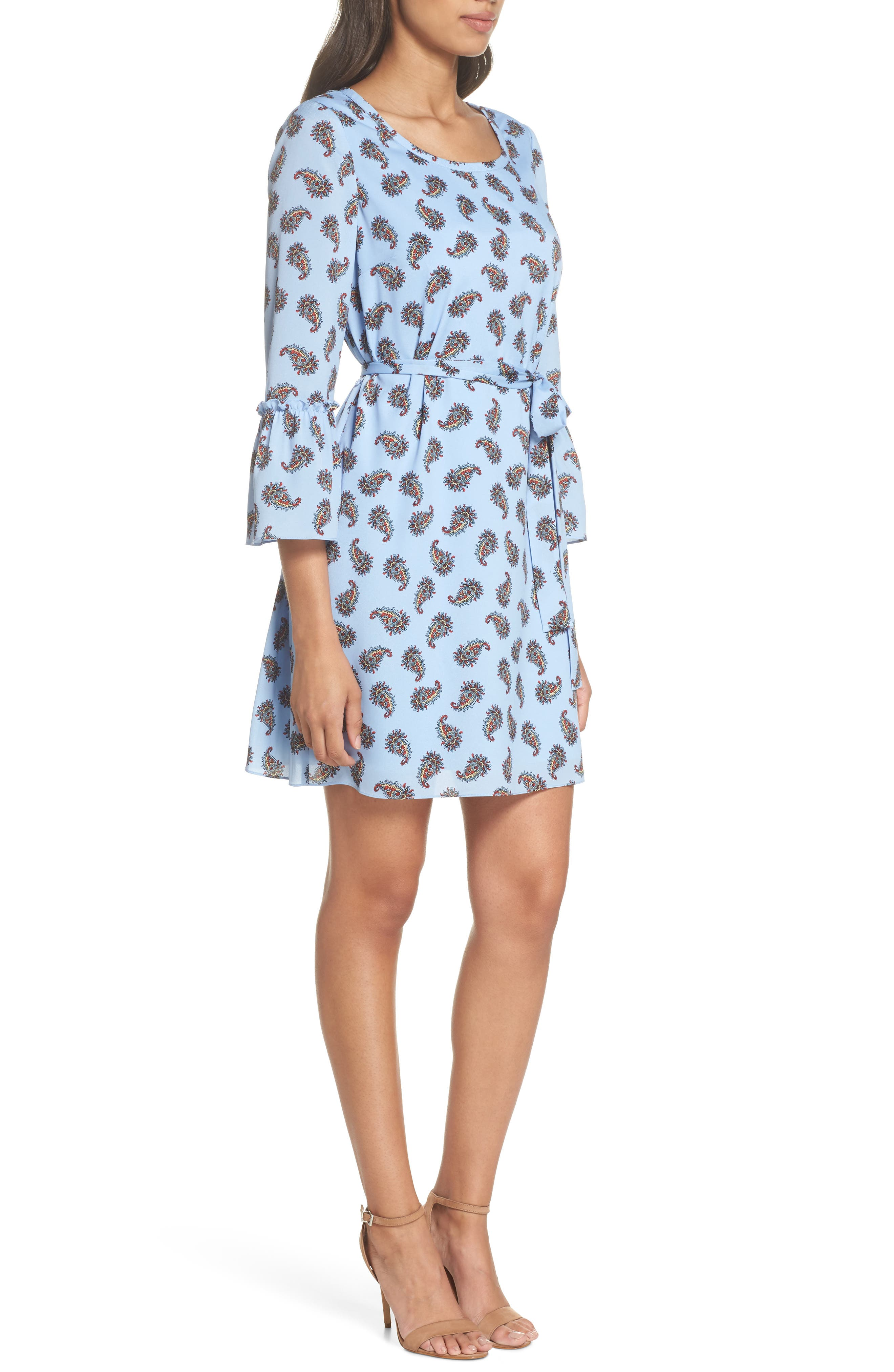 Orli Paisley Print Bell Sleeve Dress,                             Alternate thumbnail 3, color,                             Blue Multi