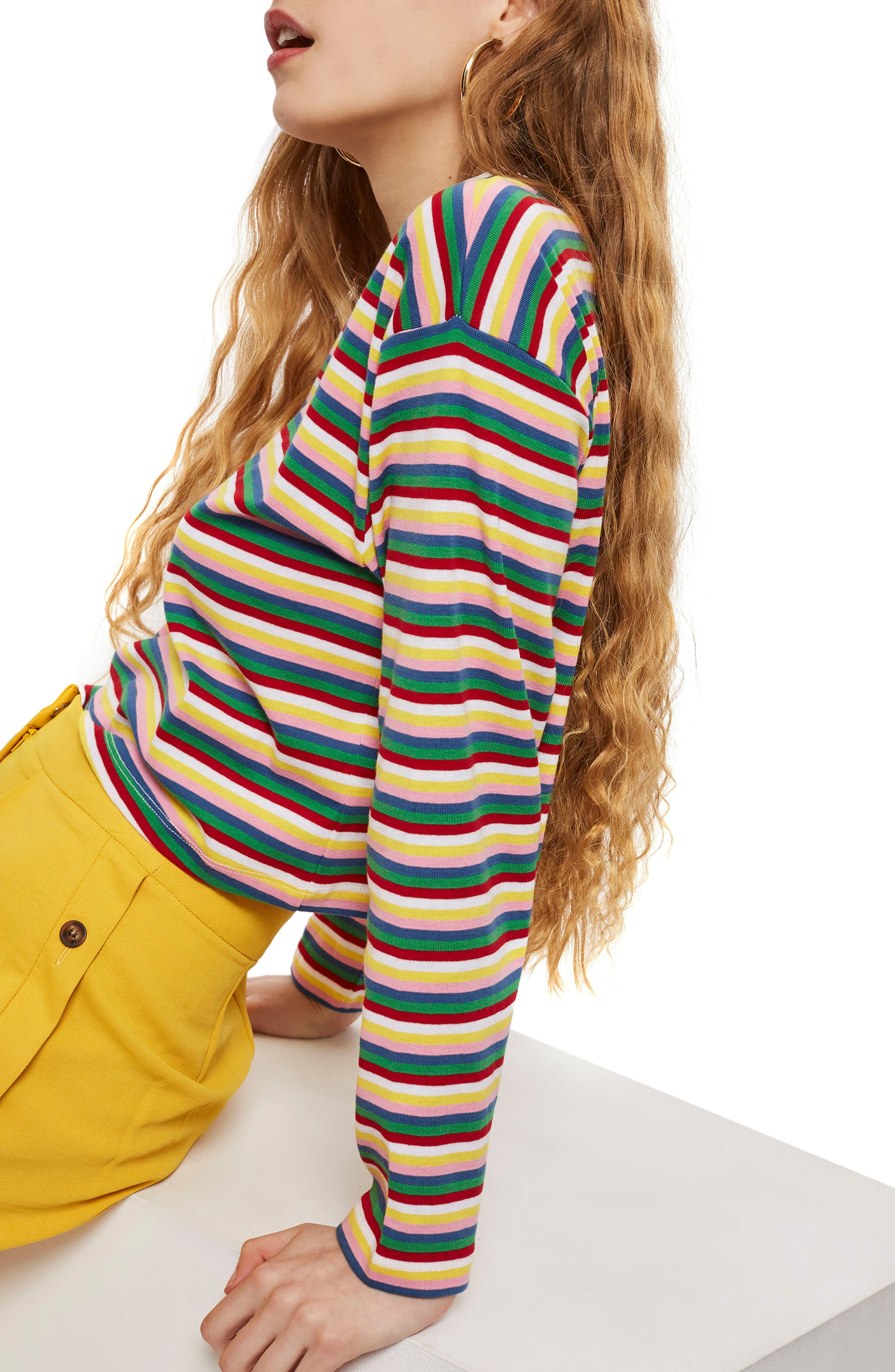 Rainbow Stripe Cotton Pullover,                             Alternate thumbnail 3, color,                             Blue Multi