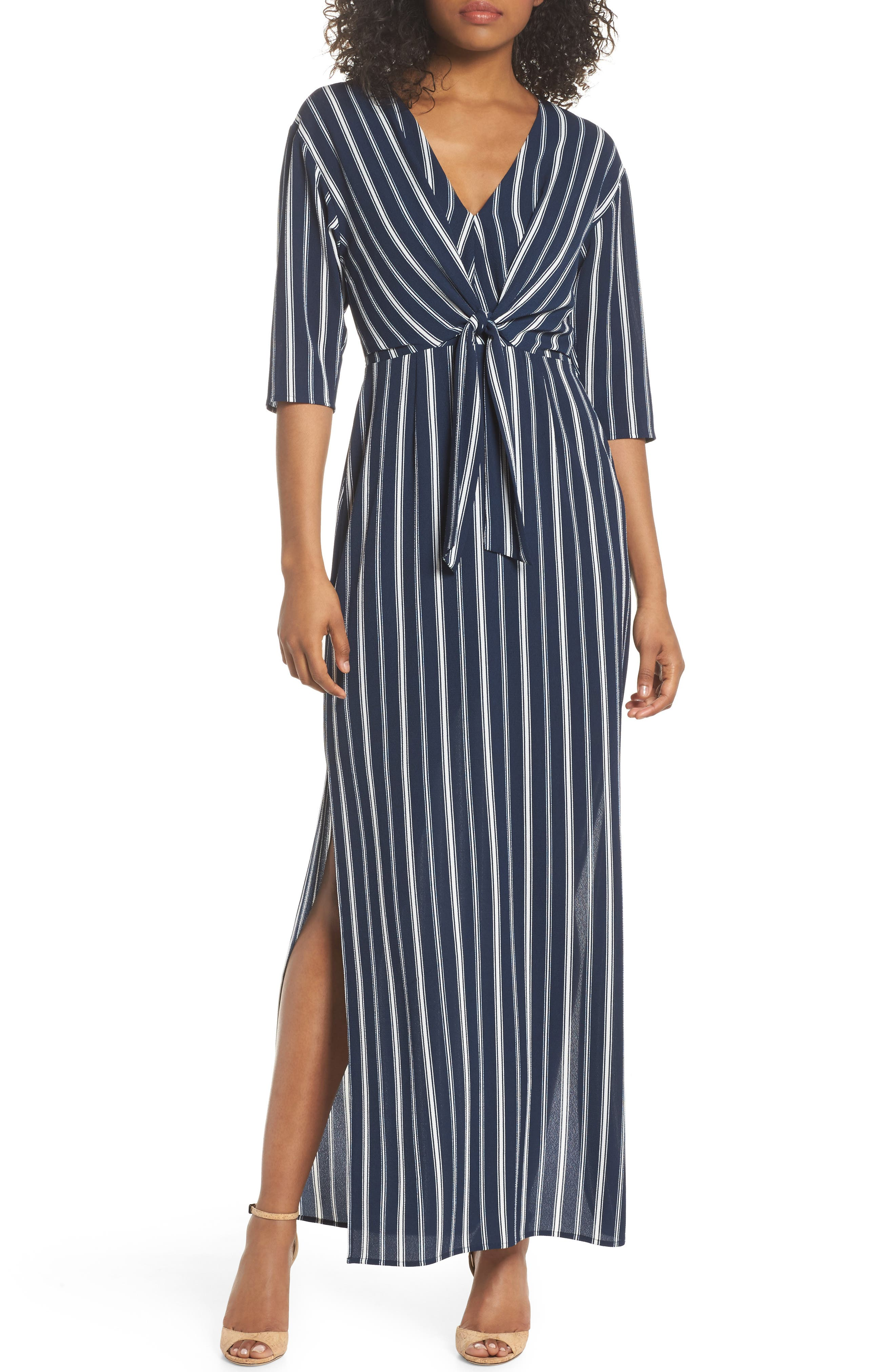 Charles Henry Knot Front Maxi Dress (Regular & Petite)