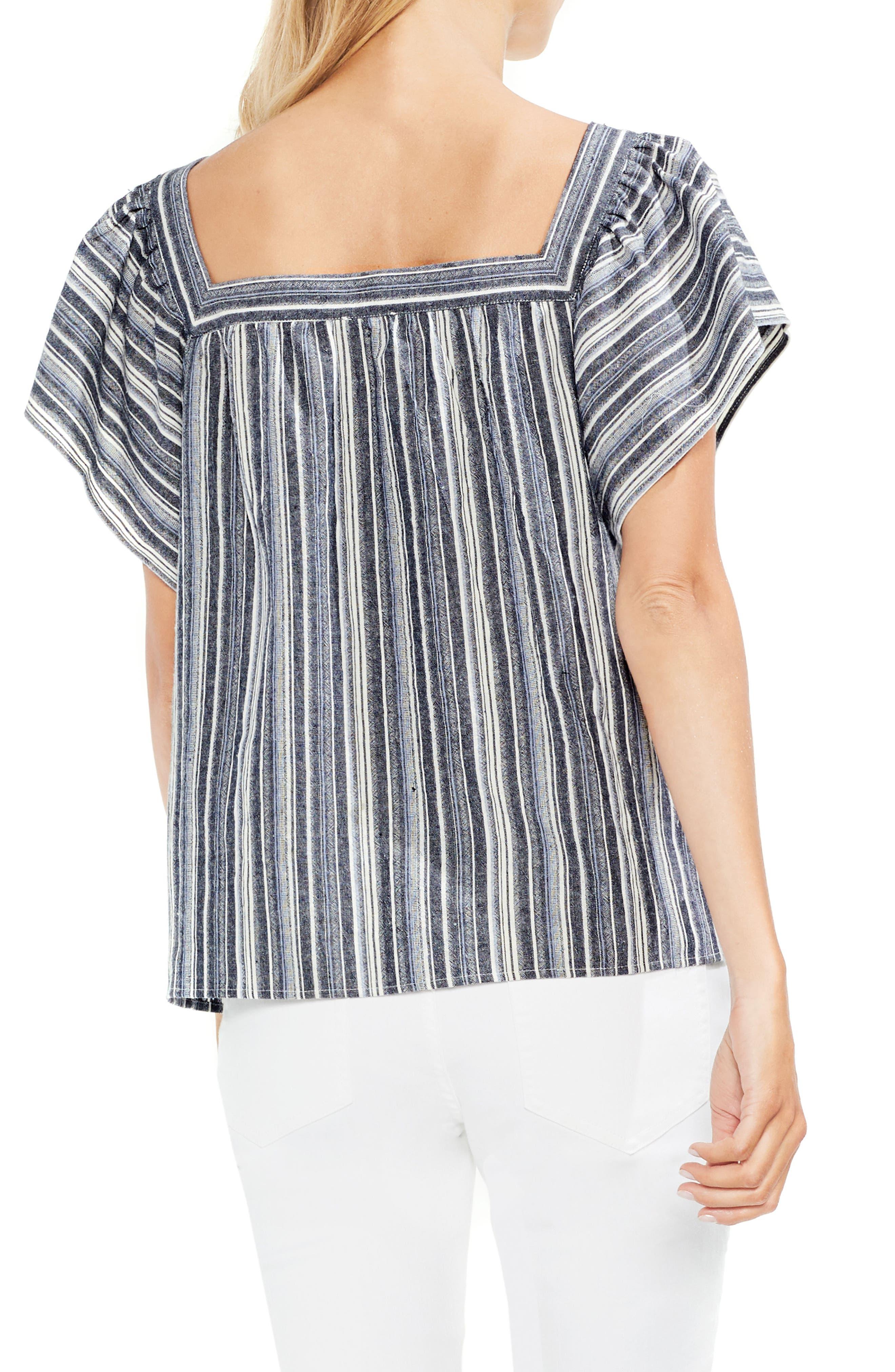 Charcoal Stripe Ruffle Sleeve Cotton Linen Top,                             Alternate thumbnail 2, color,                             Regatta Bay