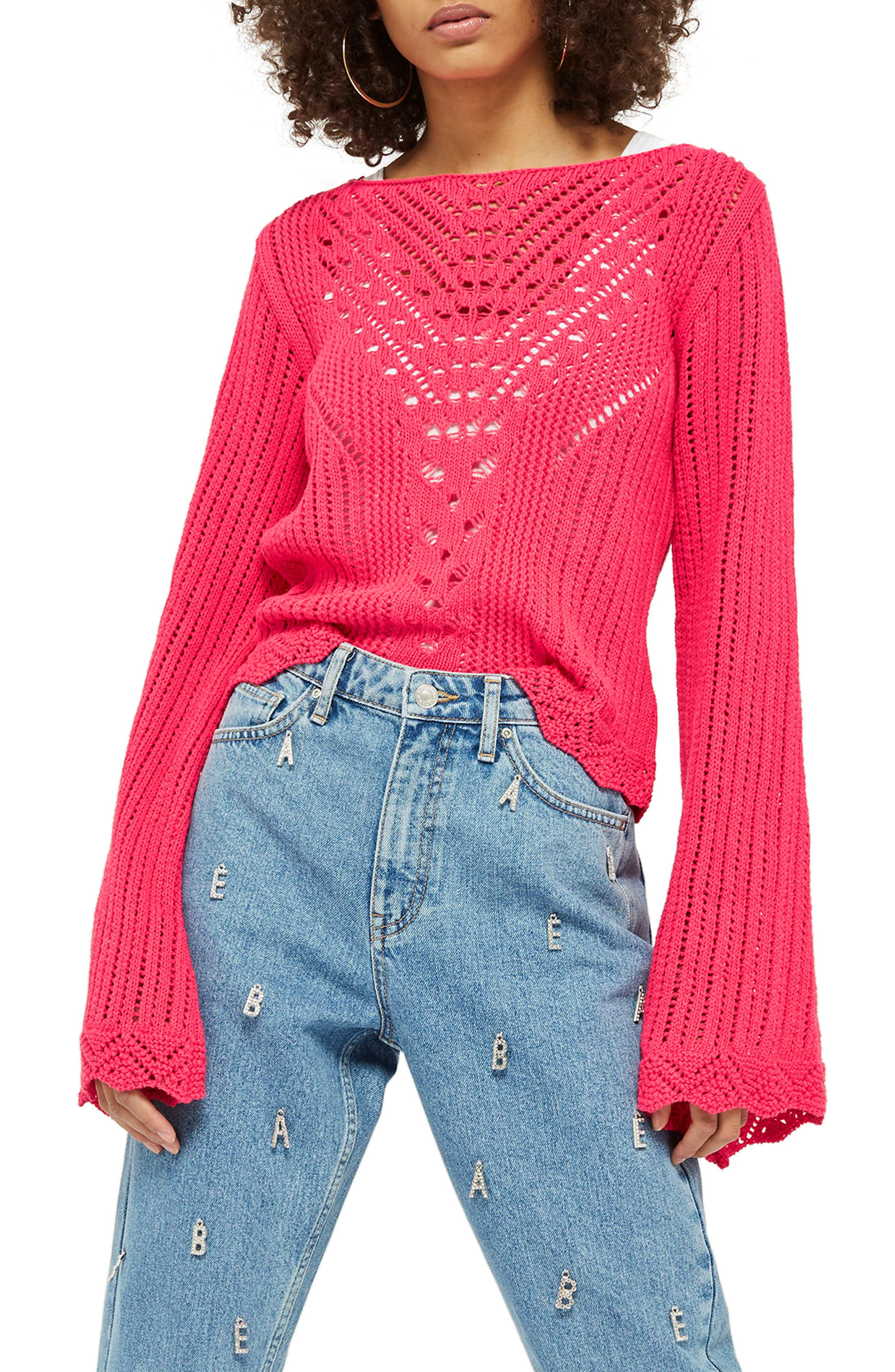 Tie Back Bell Sleeve Sweater,                         Main,                         color, Bright Pink