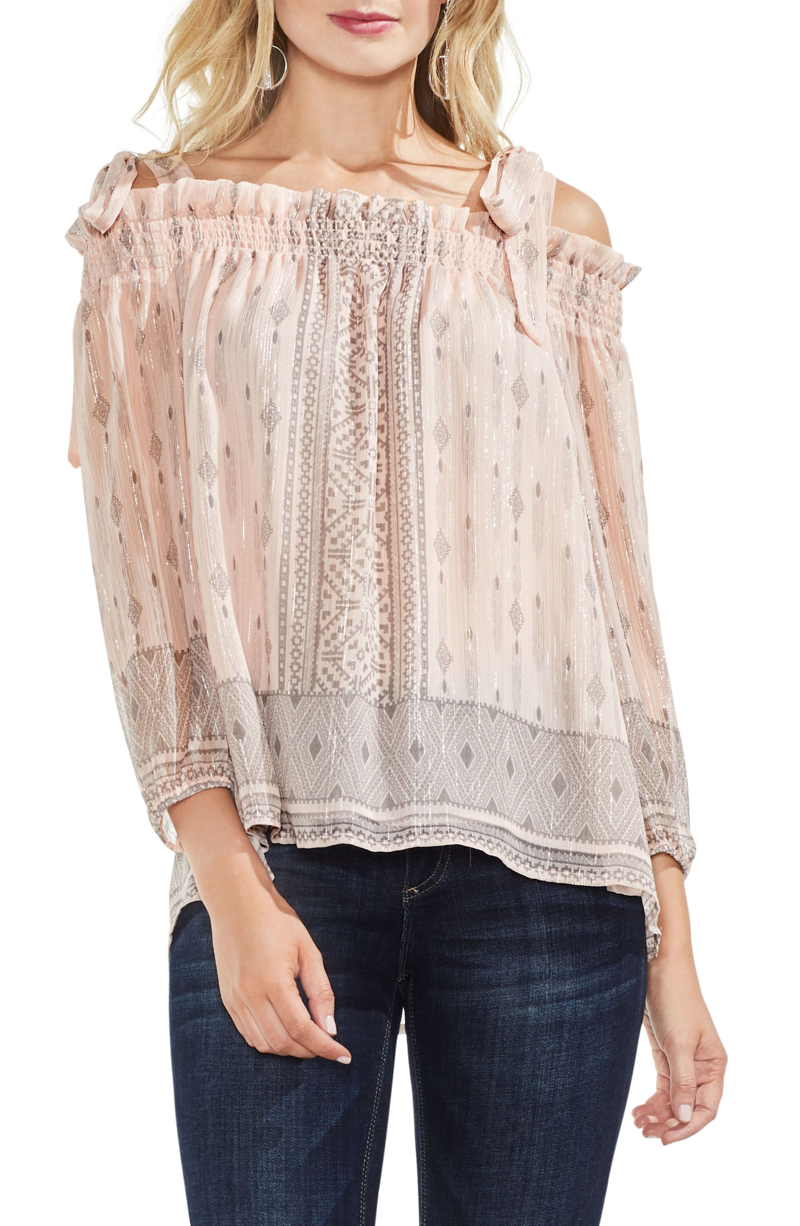 Delicate Diamond Geo Cold Shoulder Top,                             Main thumbnail 1, color,                             French Peach