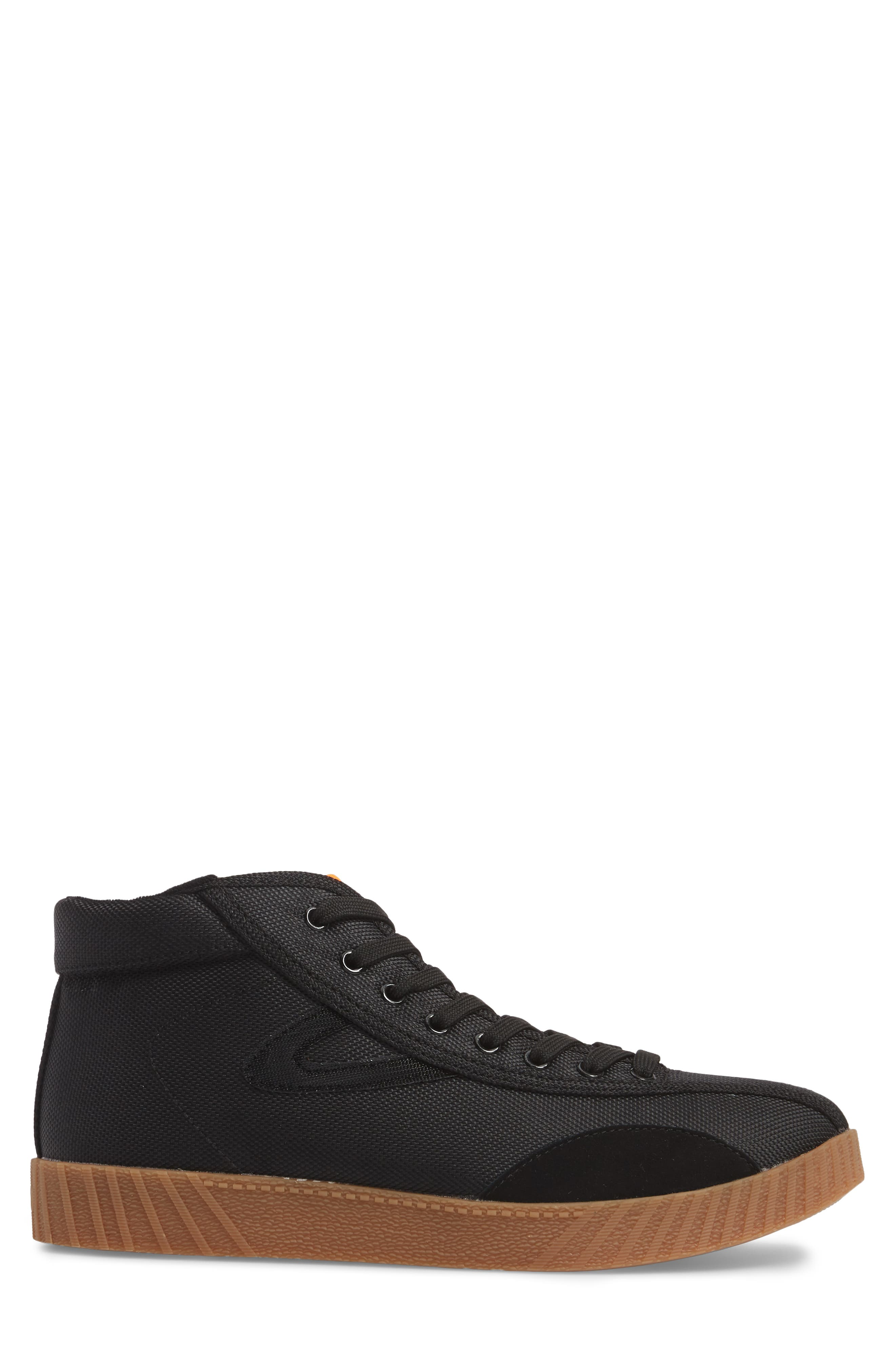 Andre 3000 Nylite High Top Sneaker,                             Alternate thumbnail 3, color,                             Black/ Neon Orange Nylon