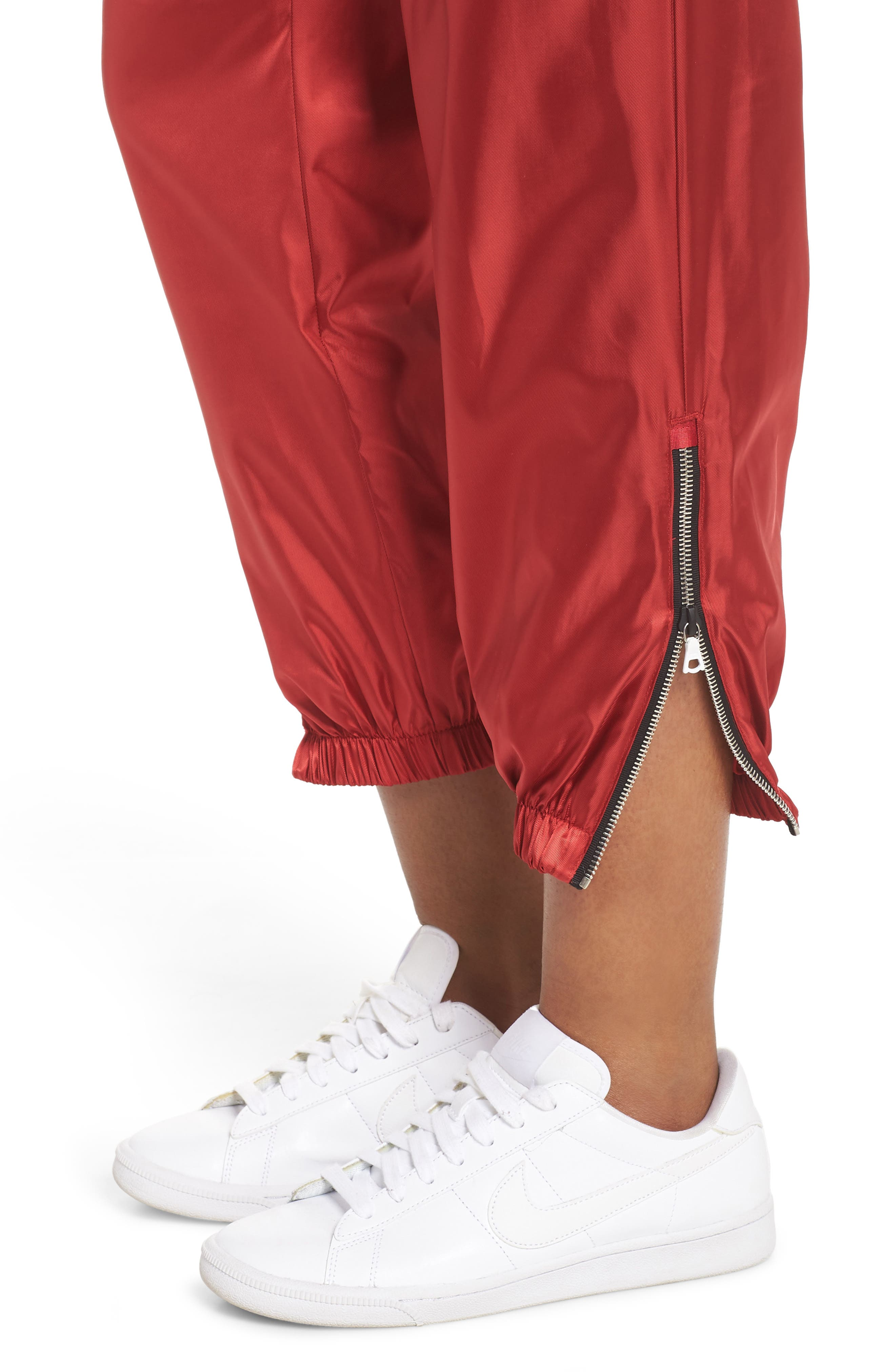 NikeLab Collection Women's Satin Track Pants,                             Alternate thumbnail 4, color,                             Gym Red/ Black