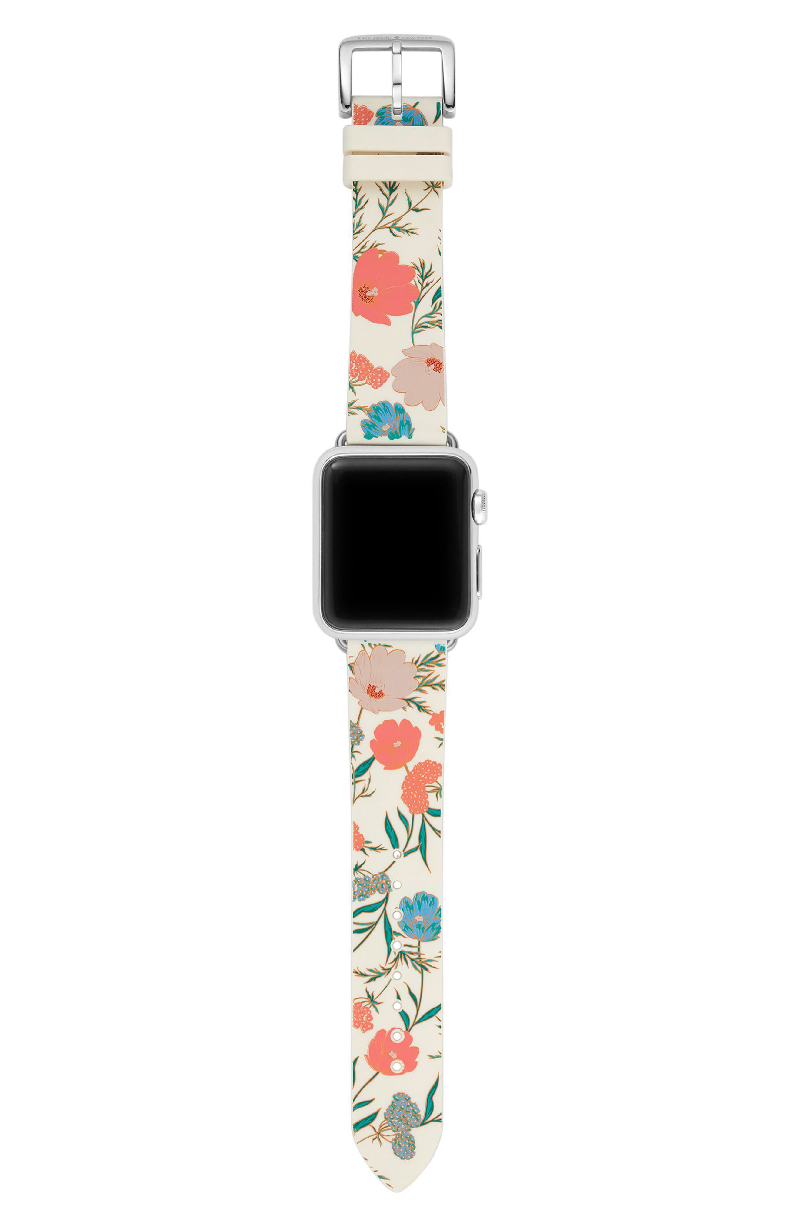 Apple Watch strap, 25mm,                             Alternate thumbnail 3, color,                             Gold/ Green/ Pink