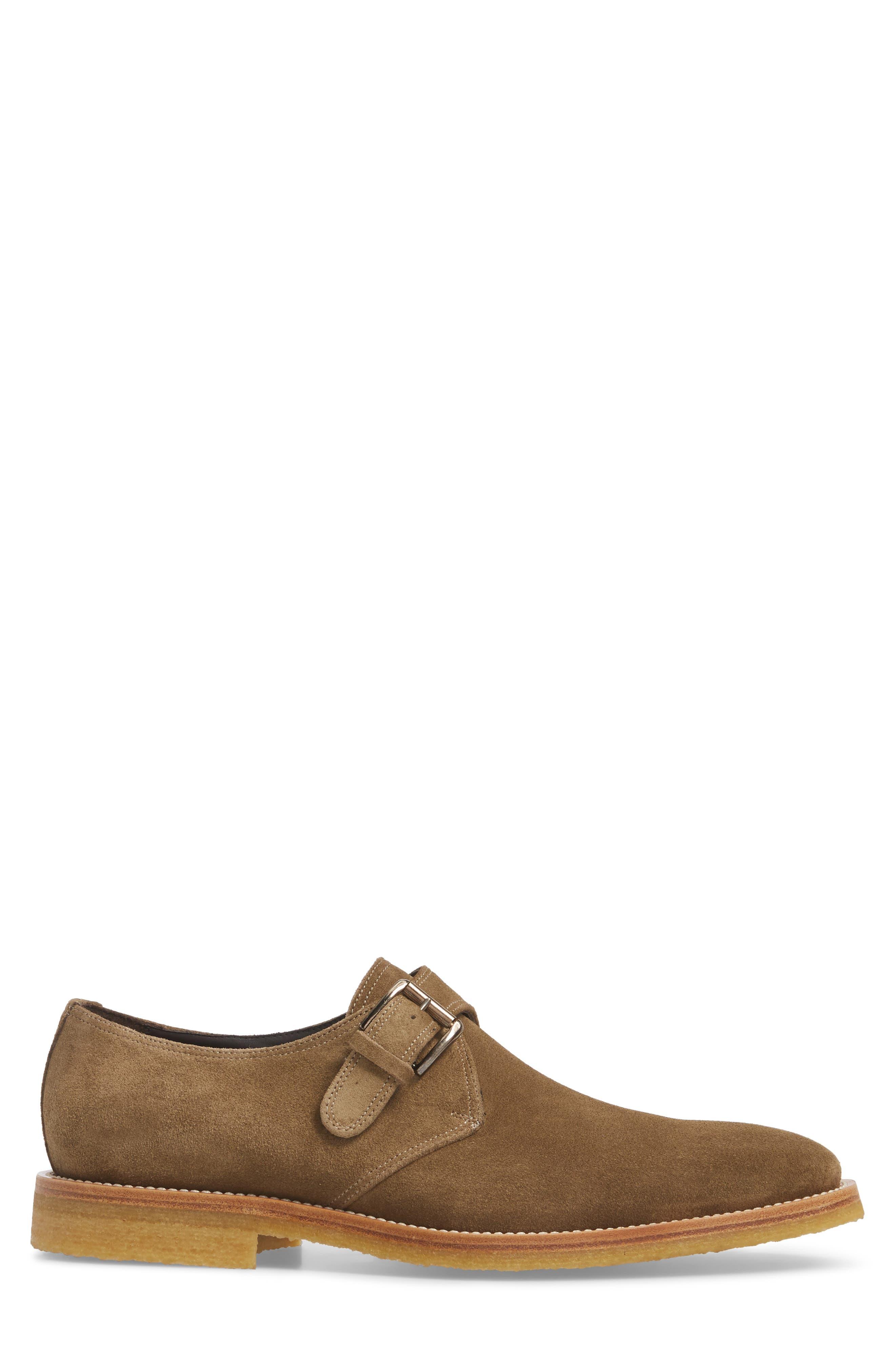 Baldwin Plain Toe Monk Shoe,                             Alternate thumbnail 3, color,                             Taupe Suede