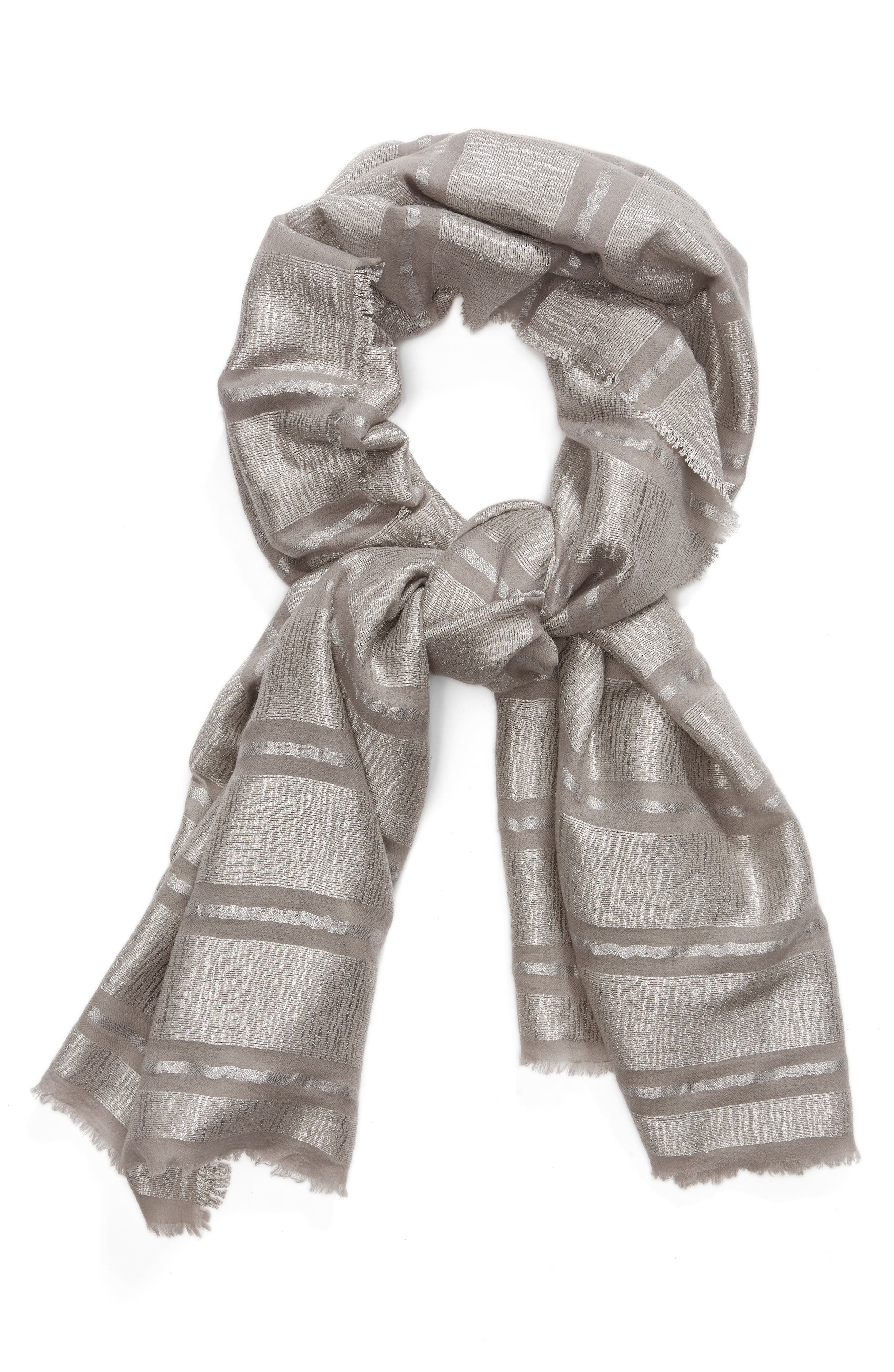 Metallic Stripe Scarf,                             Alternate thumbnail 2, color,                             Grey