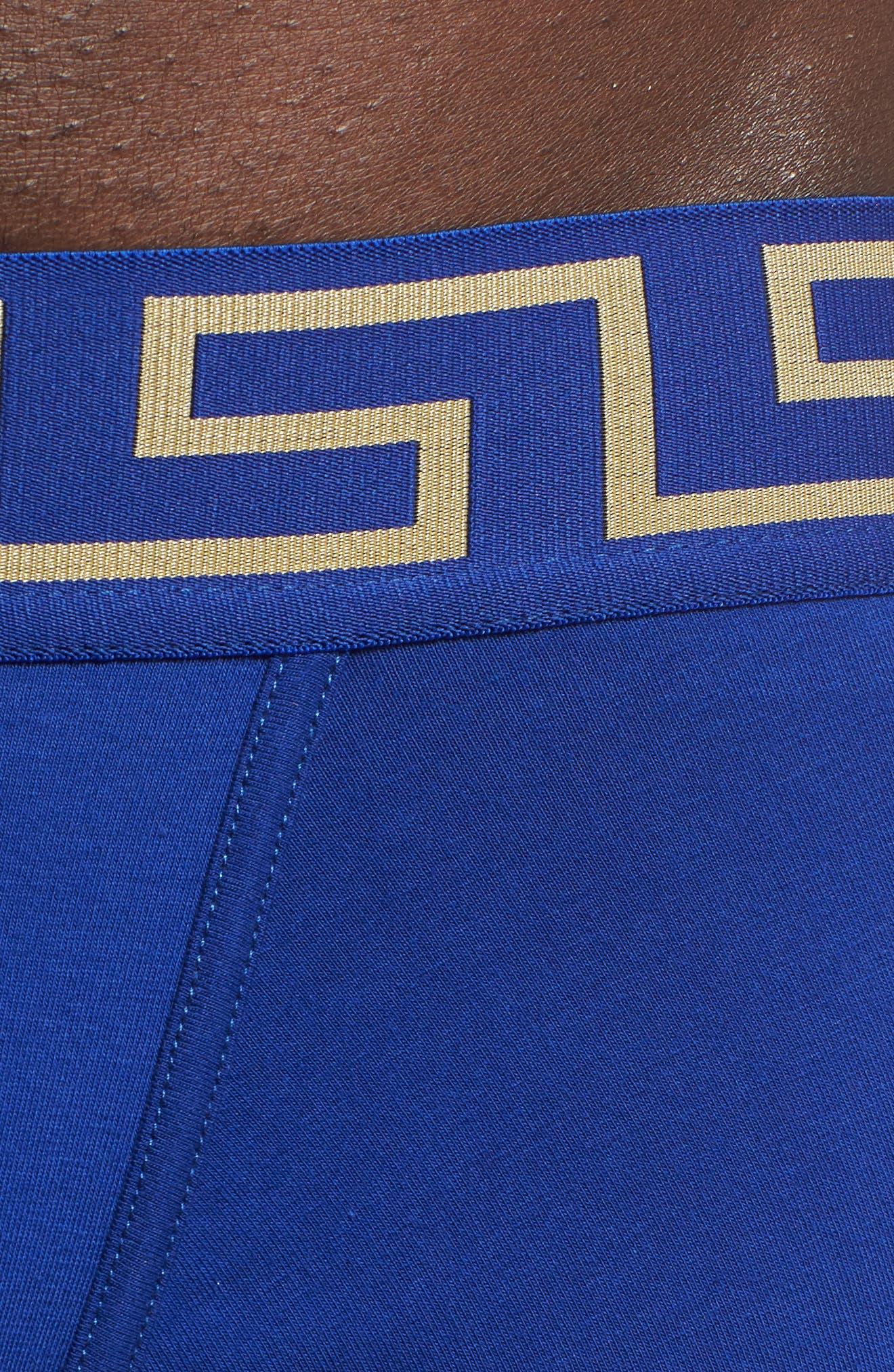 Versace Collection Low Rise Trunks,                             Alternate thumbnail 4, color,                             Bluette/ Gold