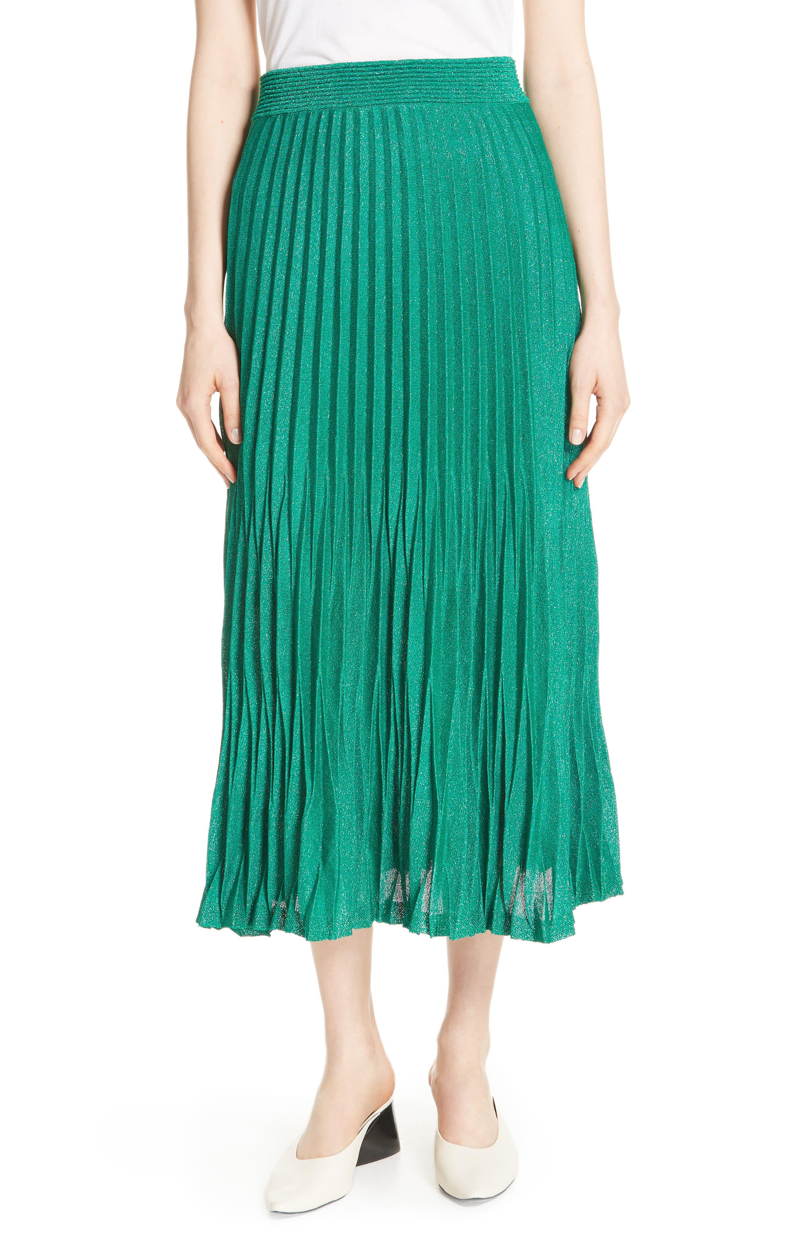 Jupette Pleated Midi Skirt,                         Main,                         color, Green