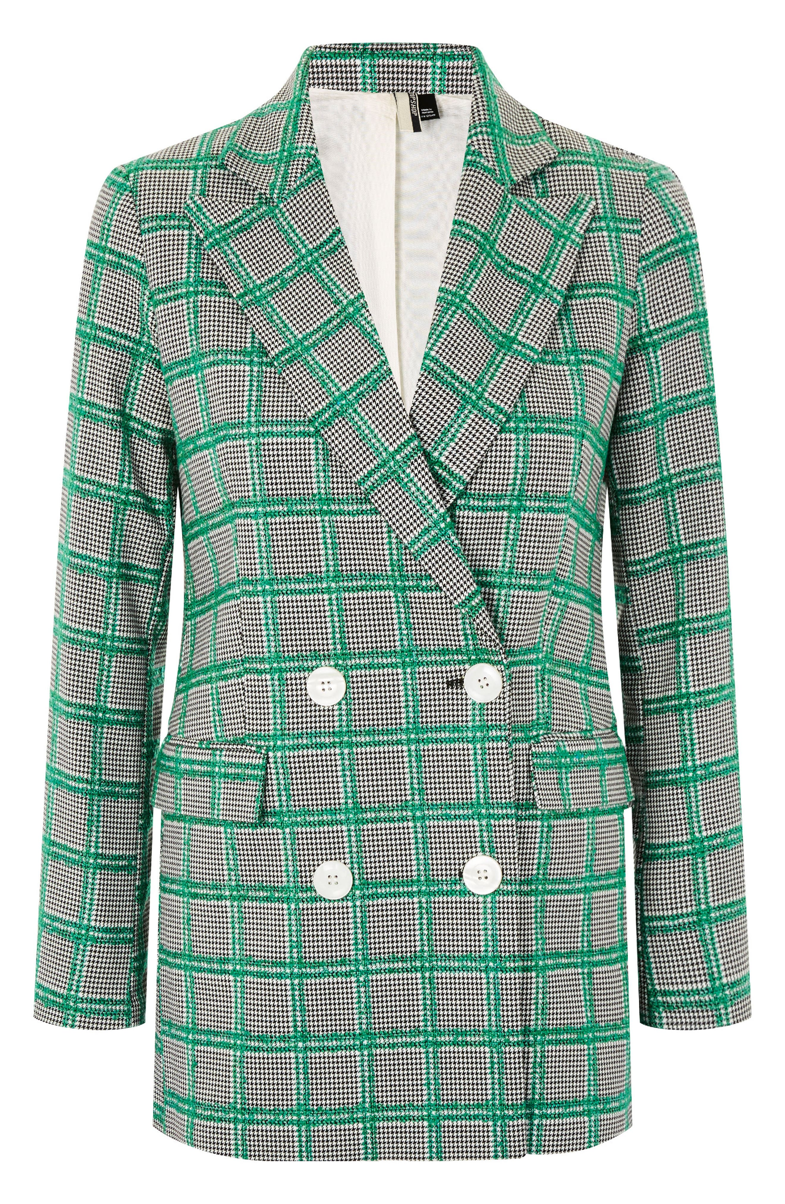 Double Breasted Windowpane Plaid Jacket,                             Alternate thumbnail 4, color,                             Green Multi