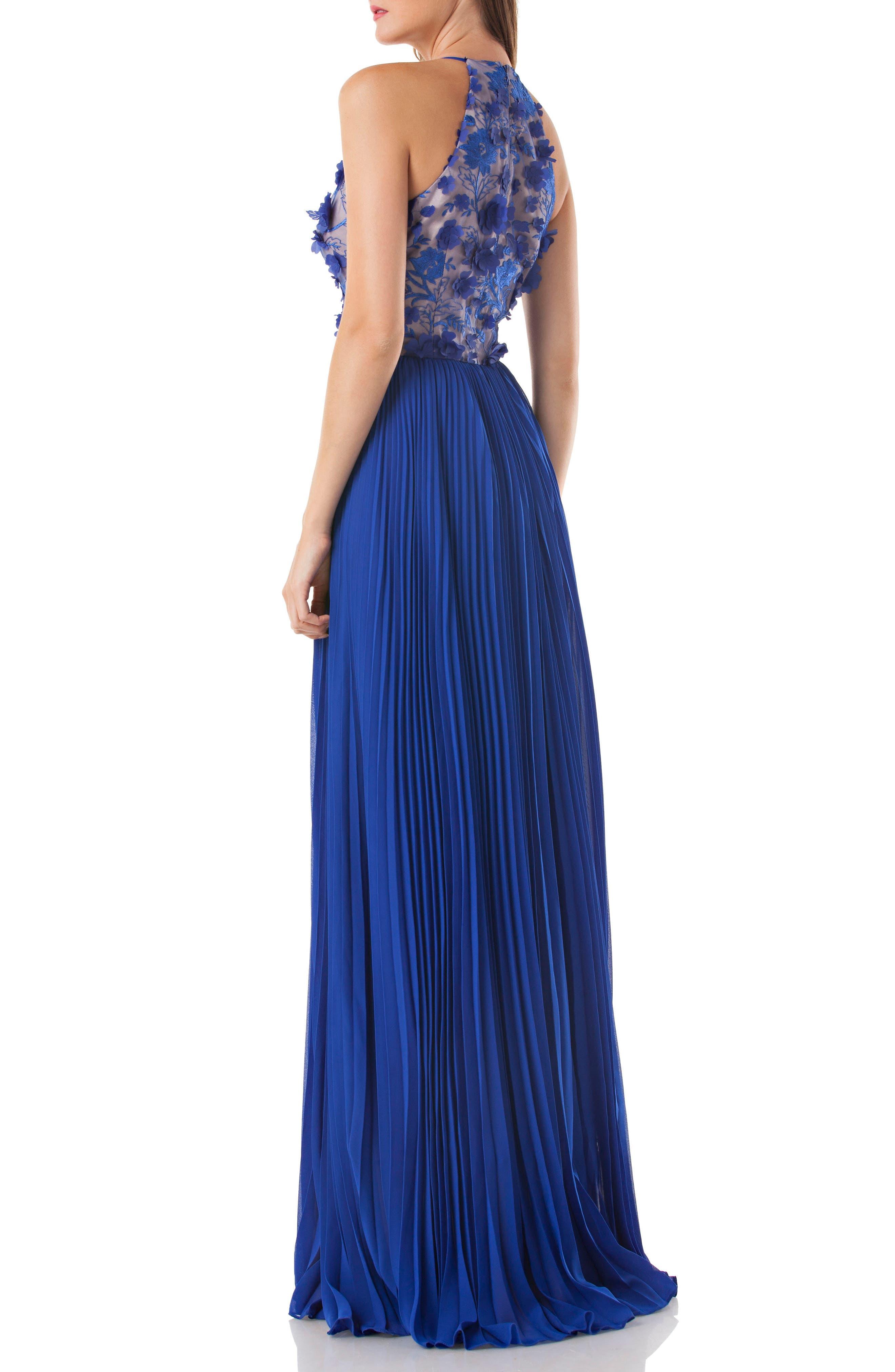Petals Halter Gown,                             Alternate thumbnail 2, color,                             Cobalt