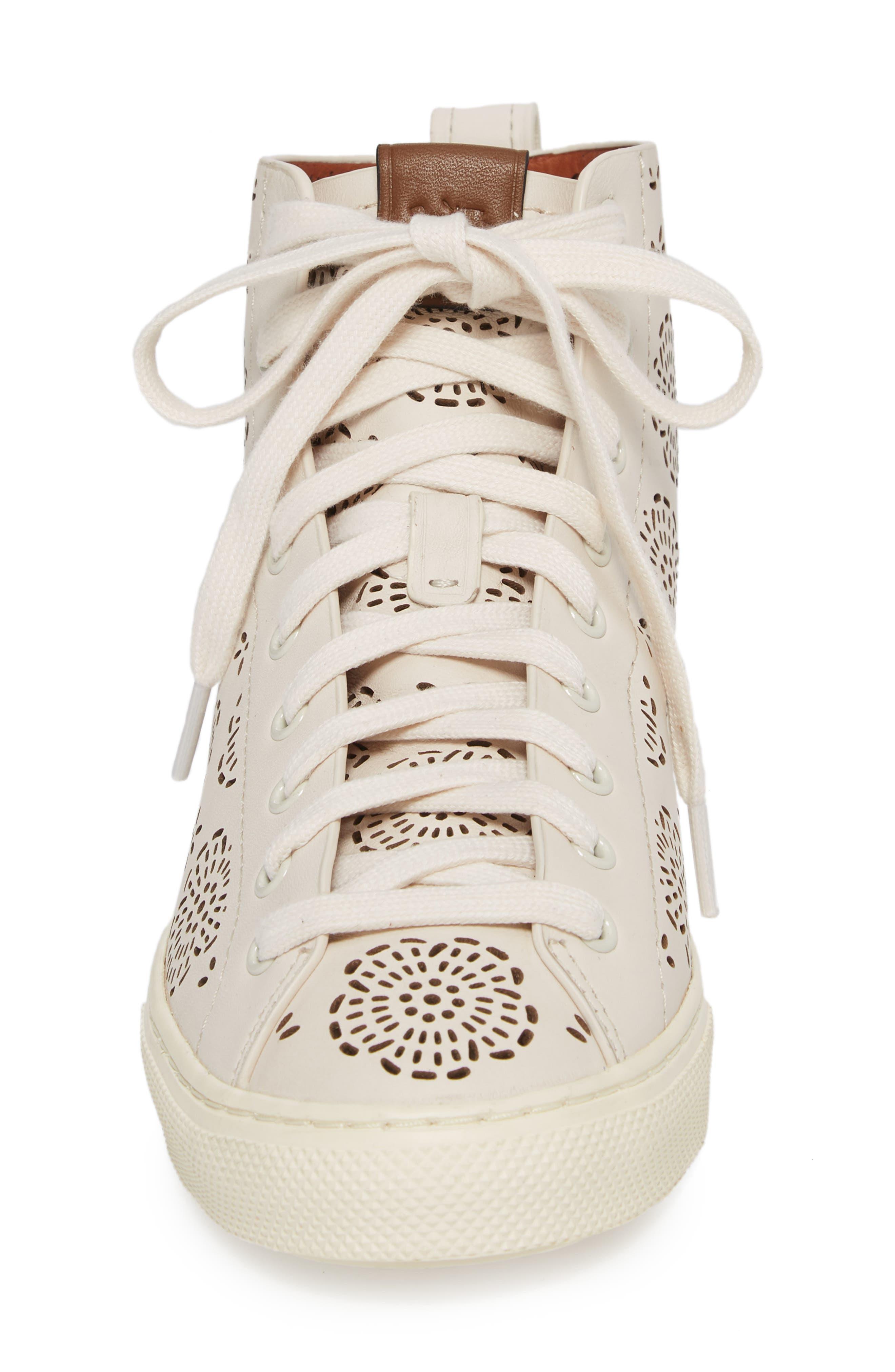 Tea Rose Cutout High Top Sneaker,                             Alternate thumbnail 4, color,                             Chalk Leather