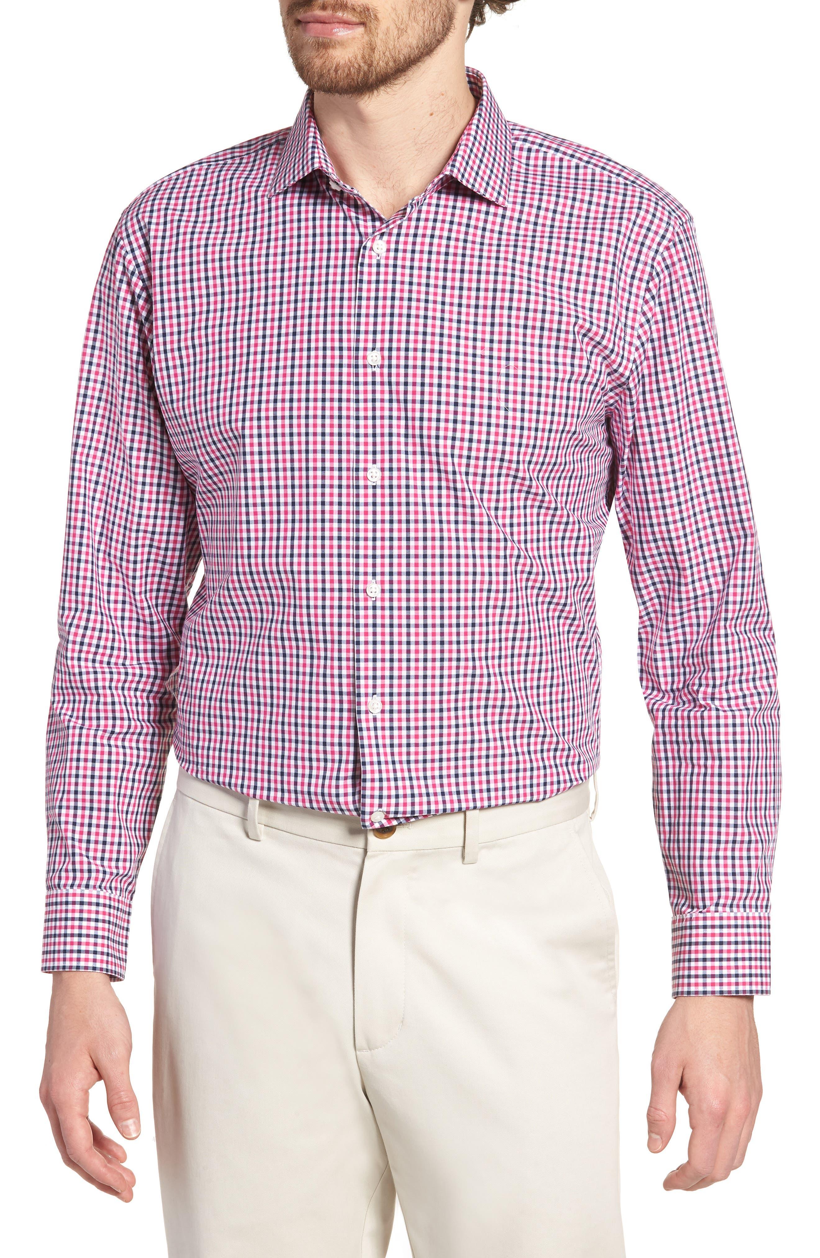 Trim Fit Check Dress Shirt,                             Main thumbnail 1, color,                             Pink Berry