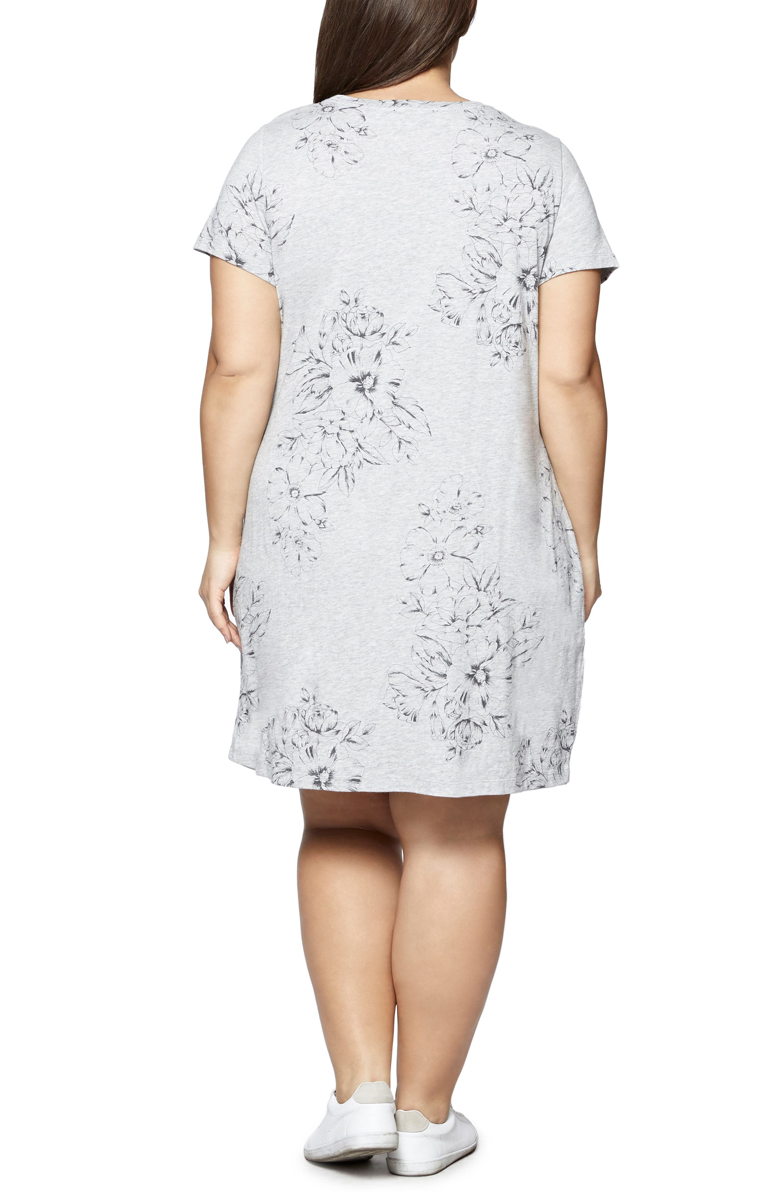 Wrapsody Print T-Shirt Dress,                             Alternate thumbnail 2, color,                             Heather Grey