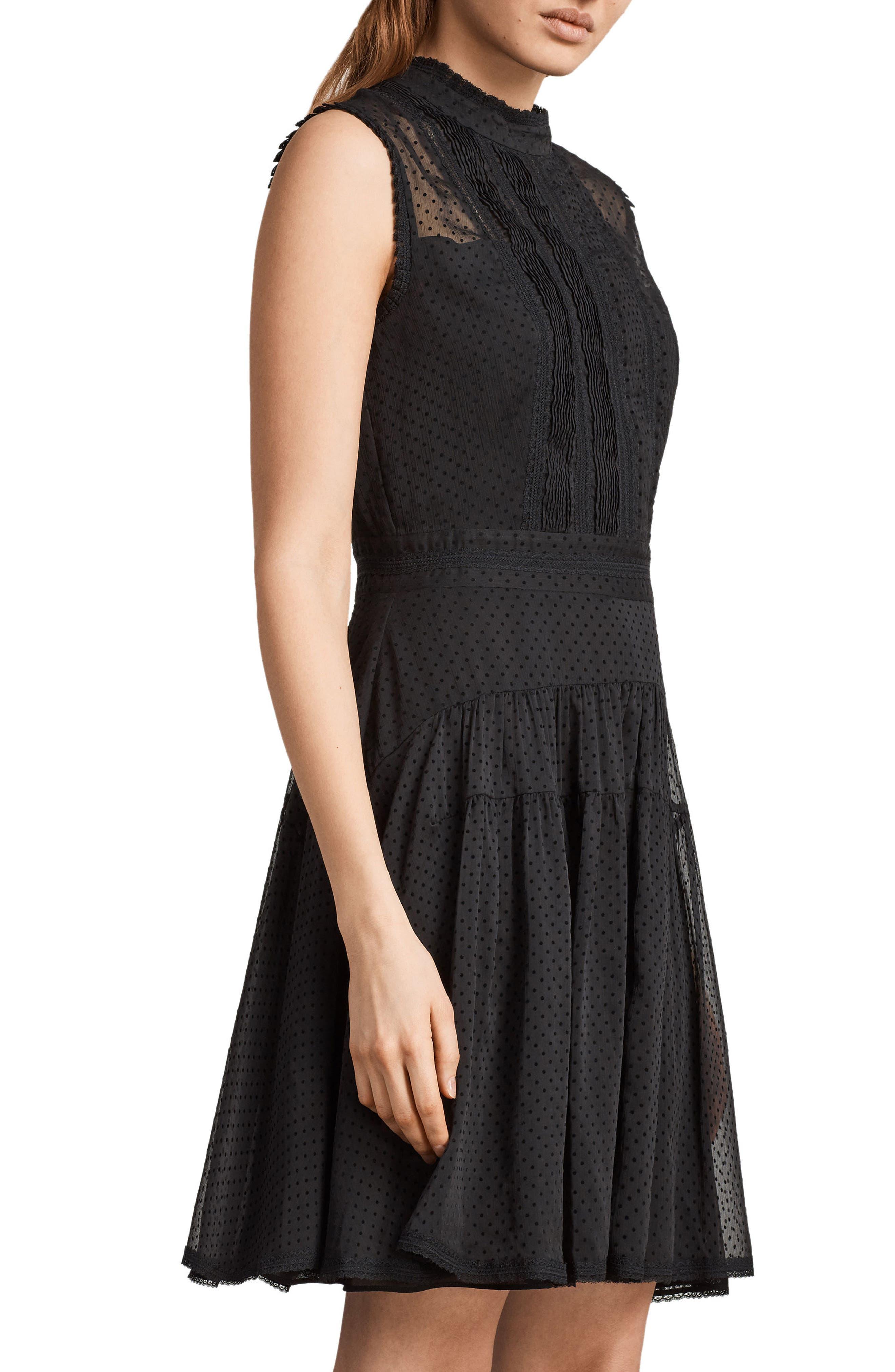 Myra Dot Pintuck Dress,                             Alternate thumbnail 3, color,                             Black