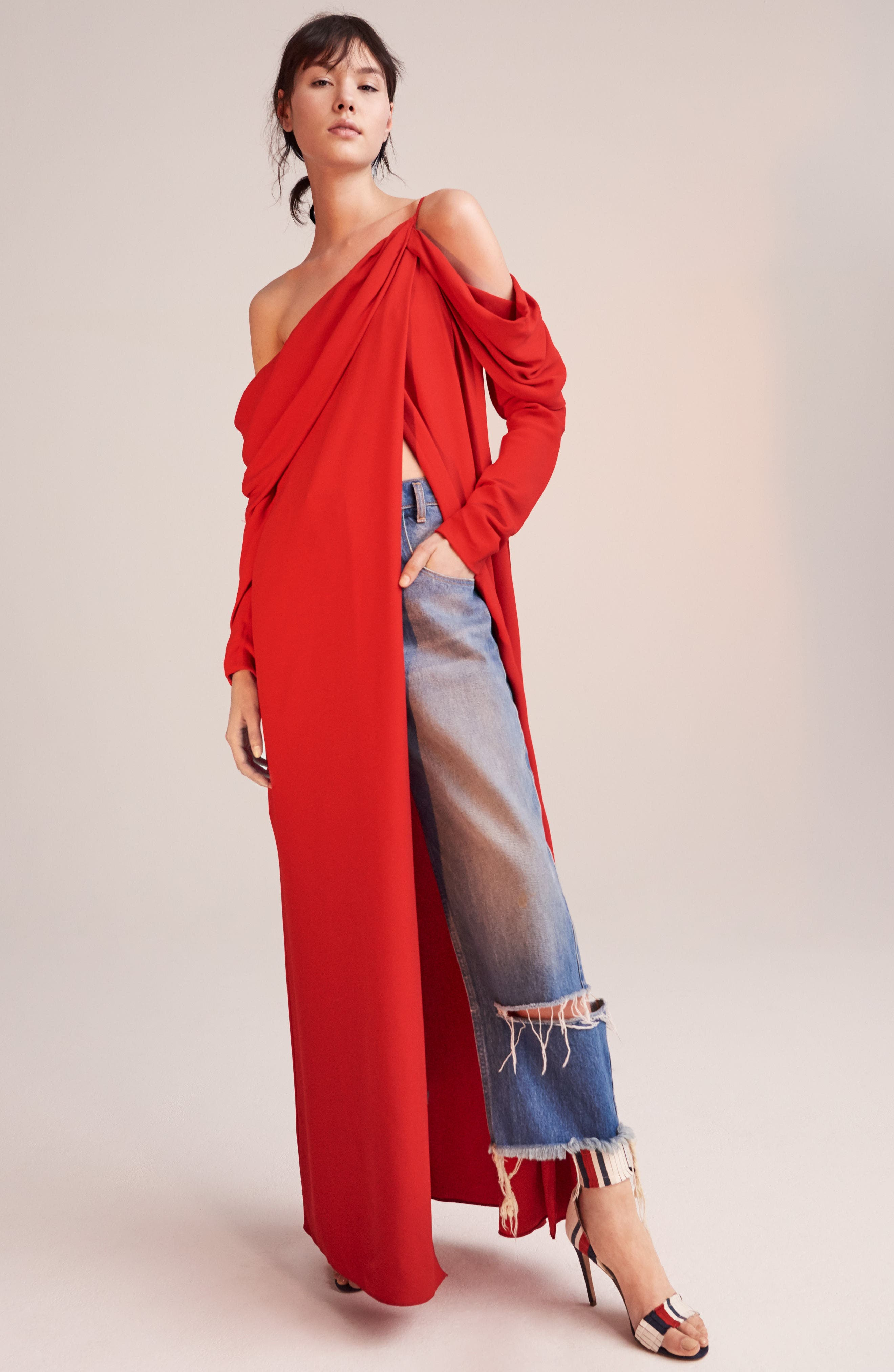 Cowl Sleeve Gown,                             Alternate thumbnail 2, color,                             Red