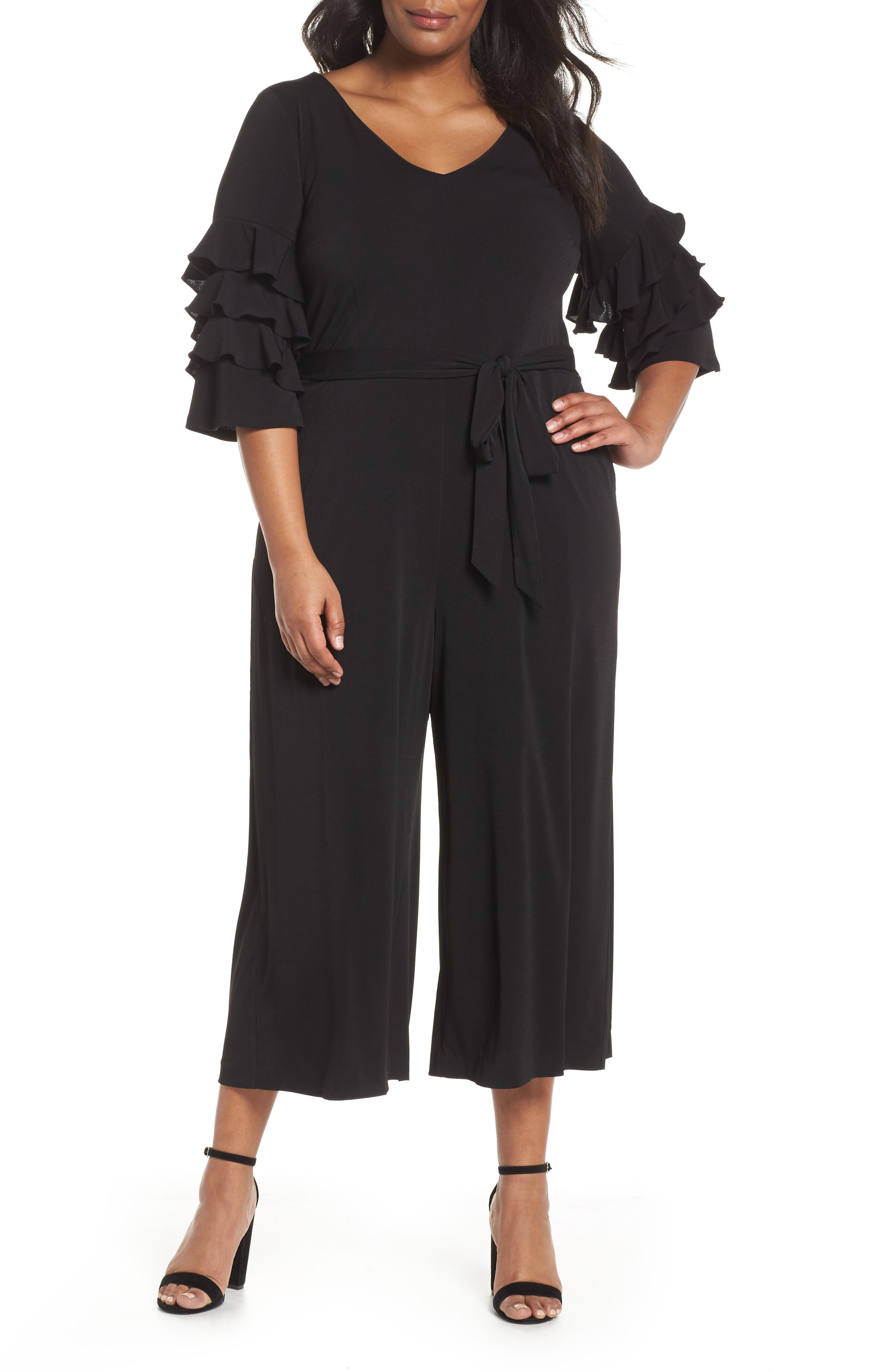 Tiered Ruffle Sleeve Crepe Jumpsuit,                             Main thumbnail 1, color,                             Black