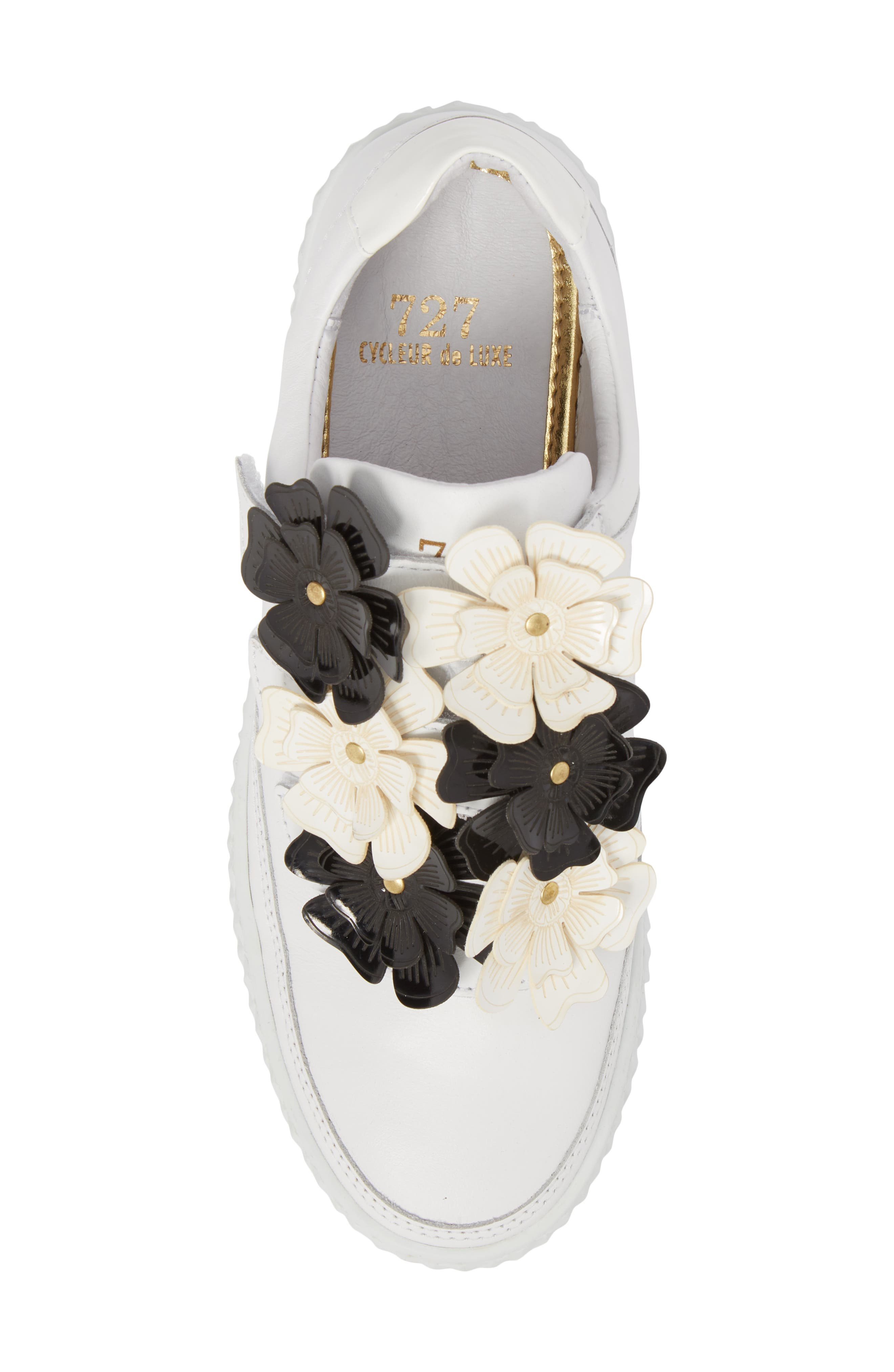 Hurou Embellished Sneaker,                             Alternate thumbnail 5, color,                             Optic White/ Black Leather