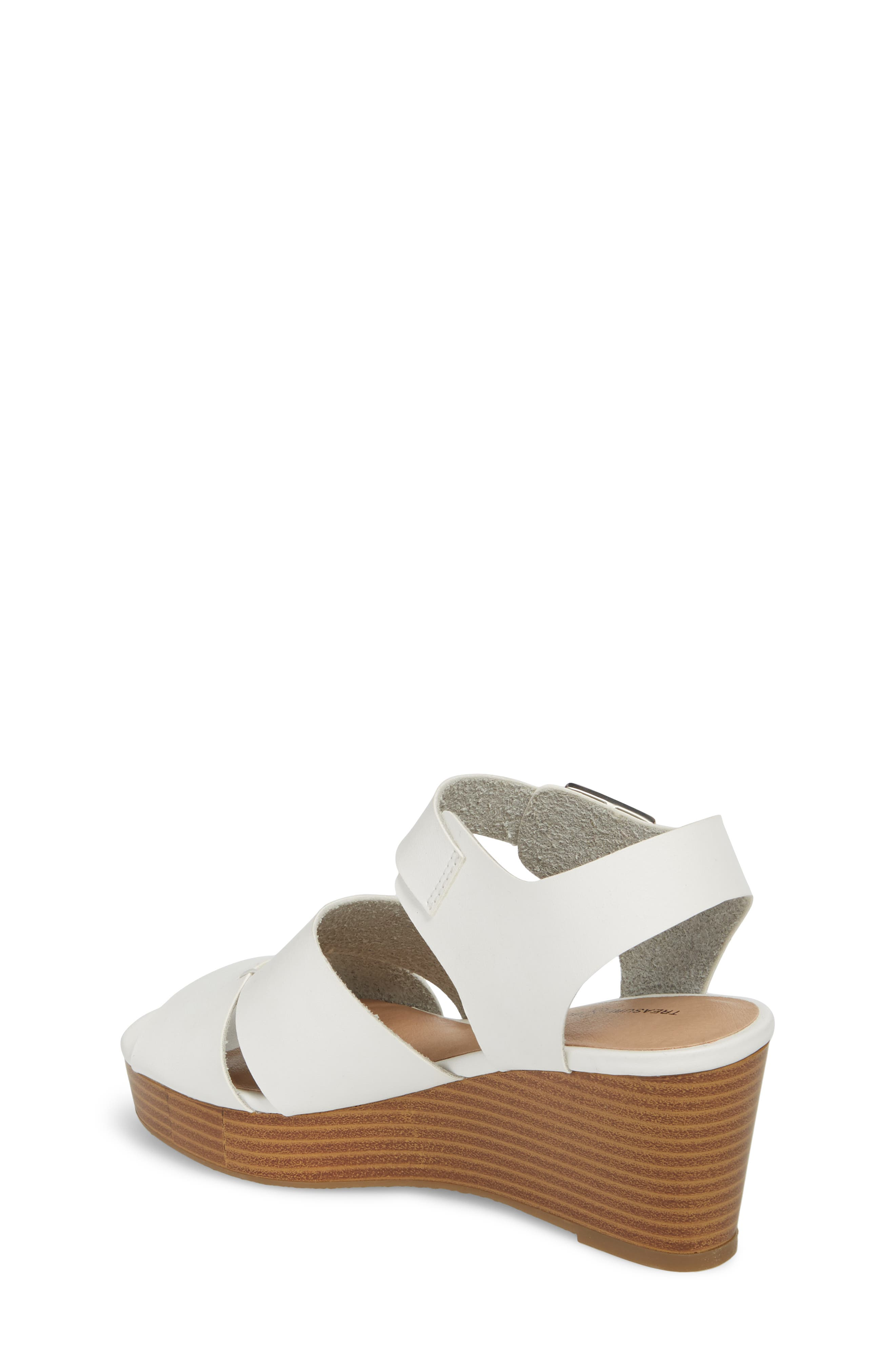 Hunter Platform Wedge Sandal,                             Alternate thumbnail 2, color,                             White Faux Leather