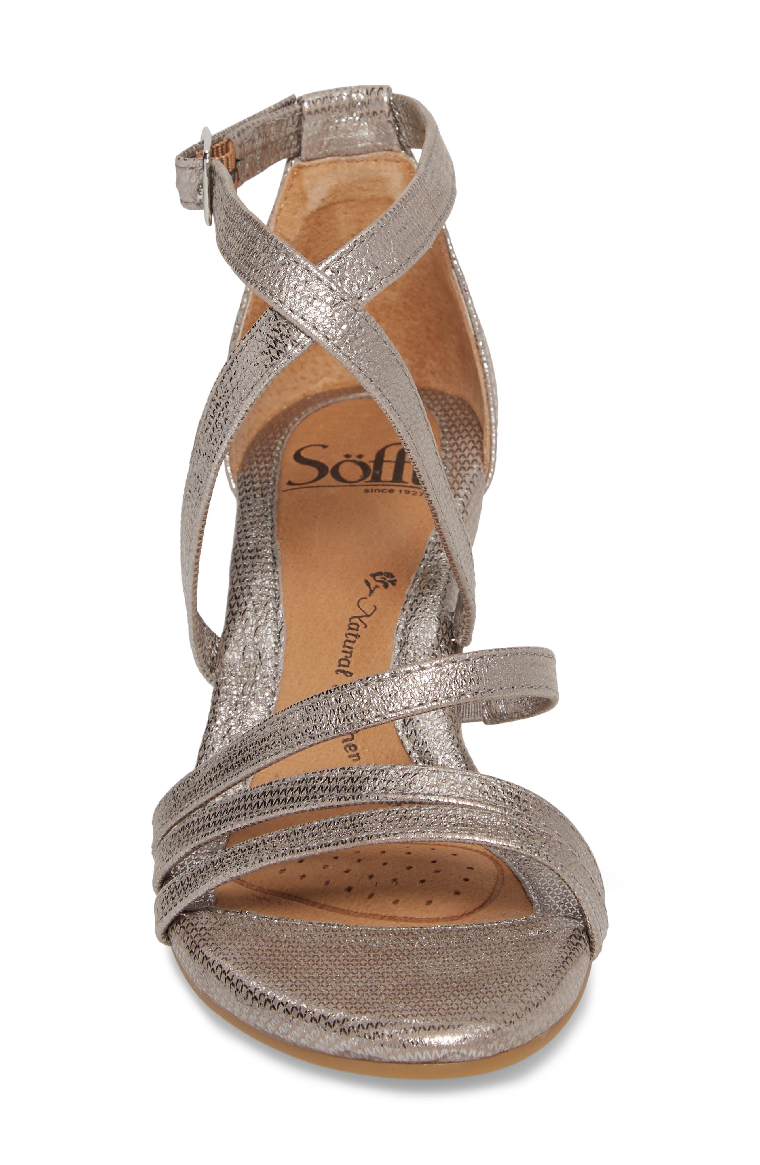 Mecina Wedge Sandal,                             Alternate thumbnail 4, color,                             Silver Metallic Leather
