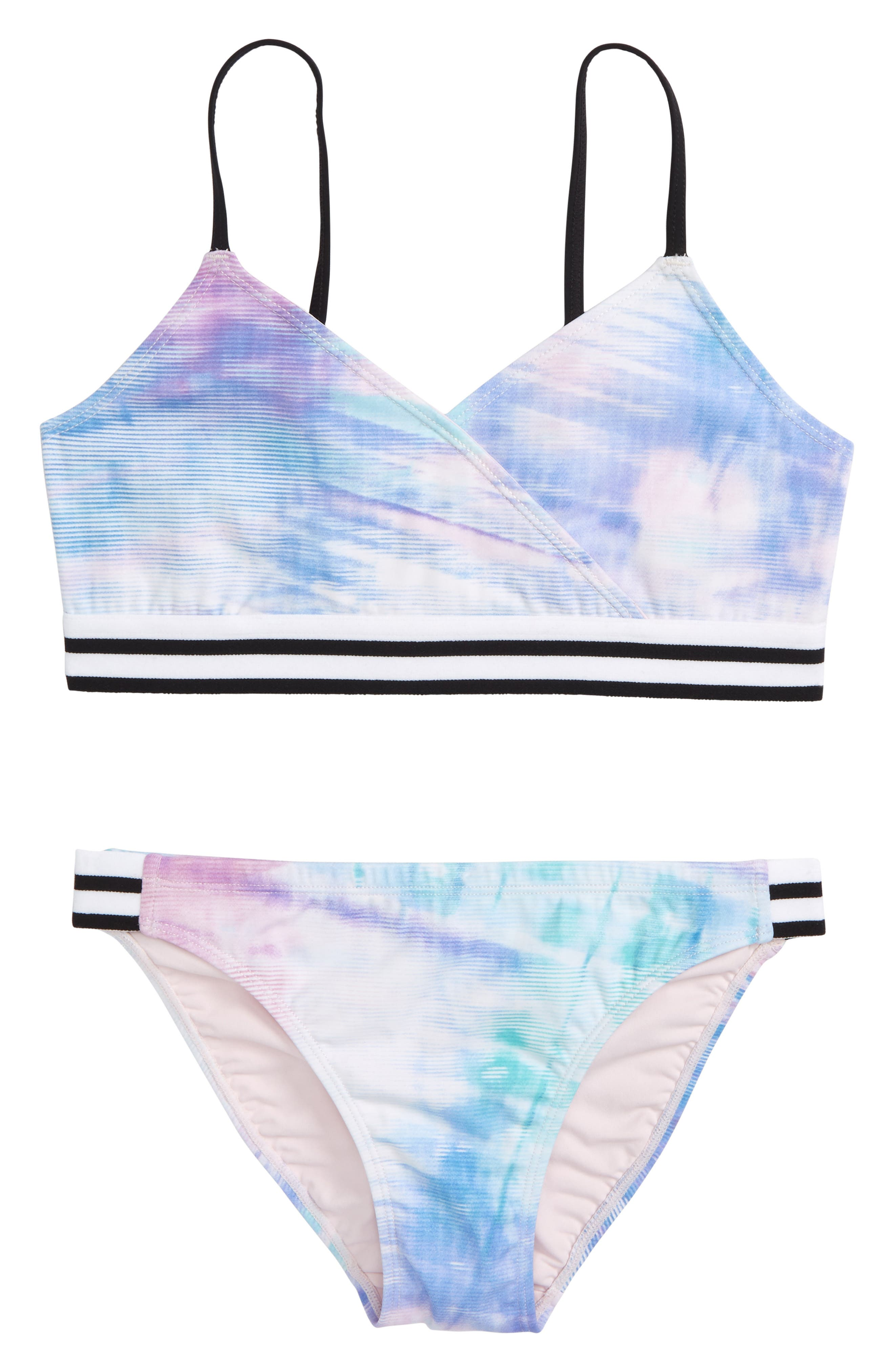 Retro Two-Piece Swimsuit,                             Main thumbnail 1, color,                             Pink Neon Striped Wash