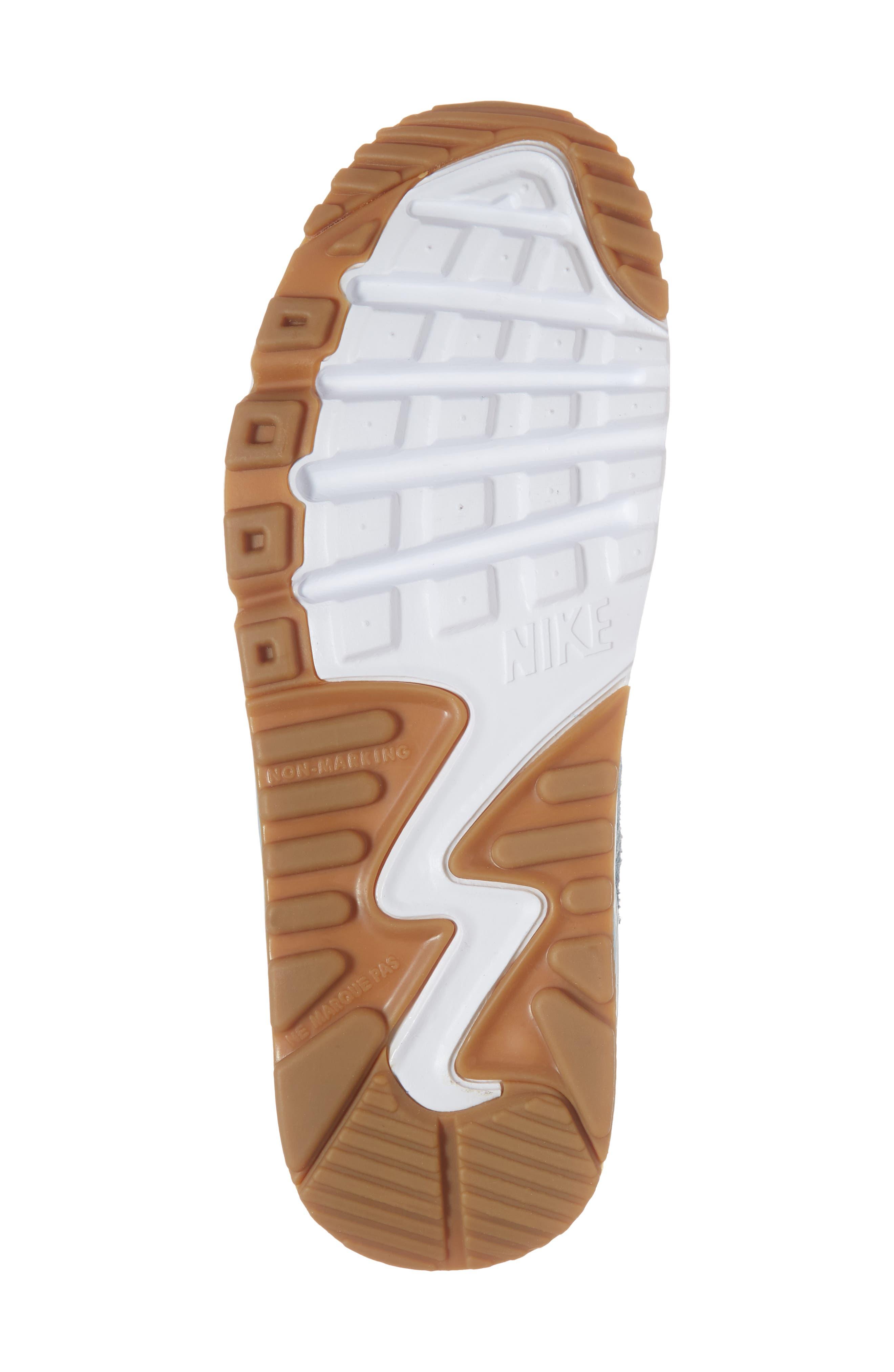 Air Max 90 Leather Sneaker,                             Alternate thumbnail 6, color,                             Ocean Bliss/ Noise Aqua/ White