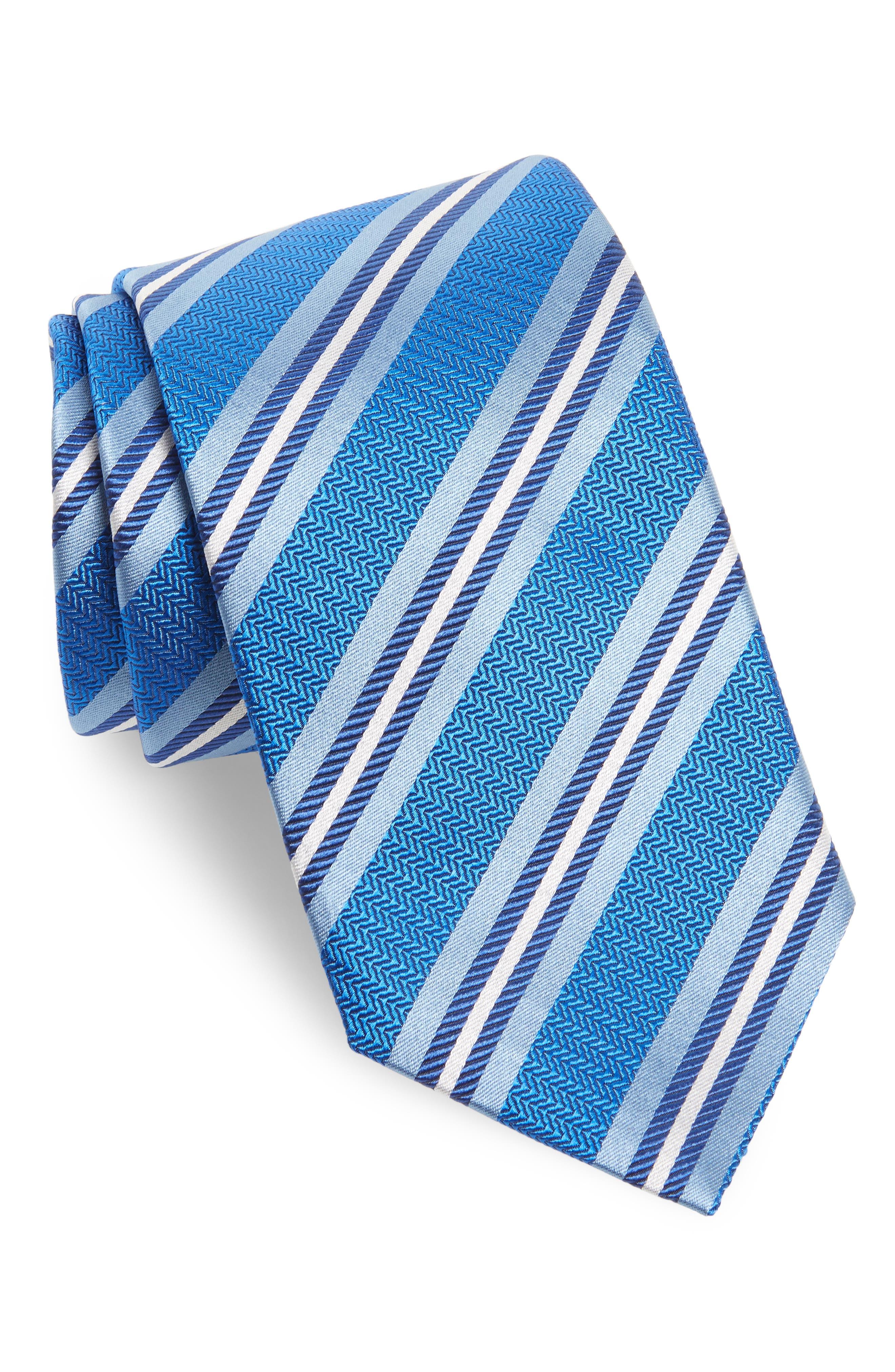 Stripe Silk Tie,                             Main thumbnail 1, color,                             Royal