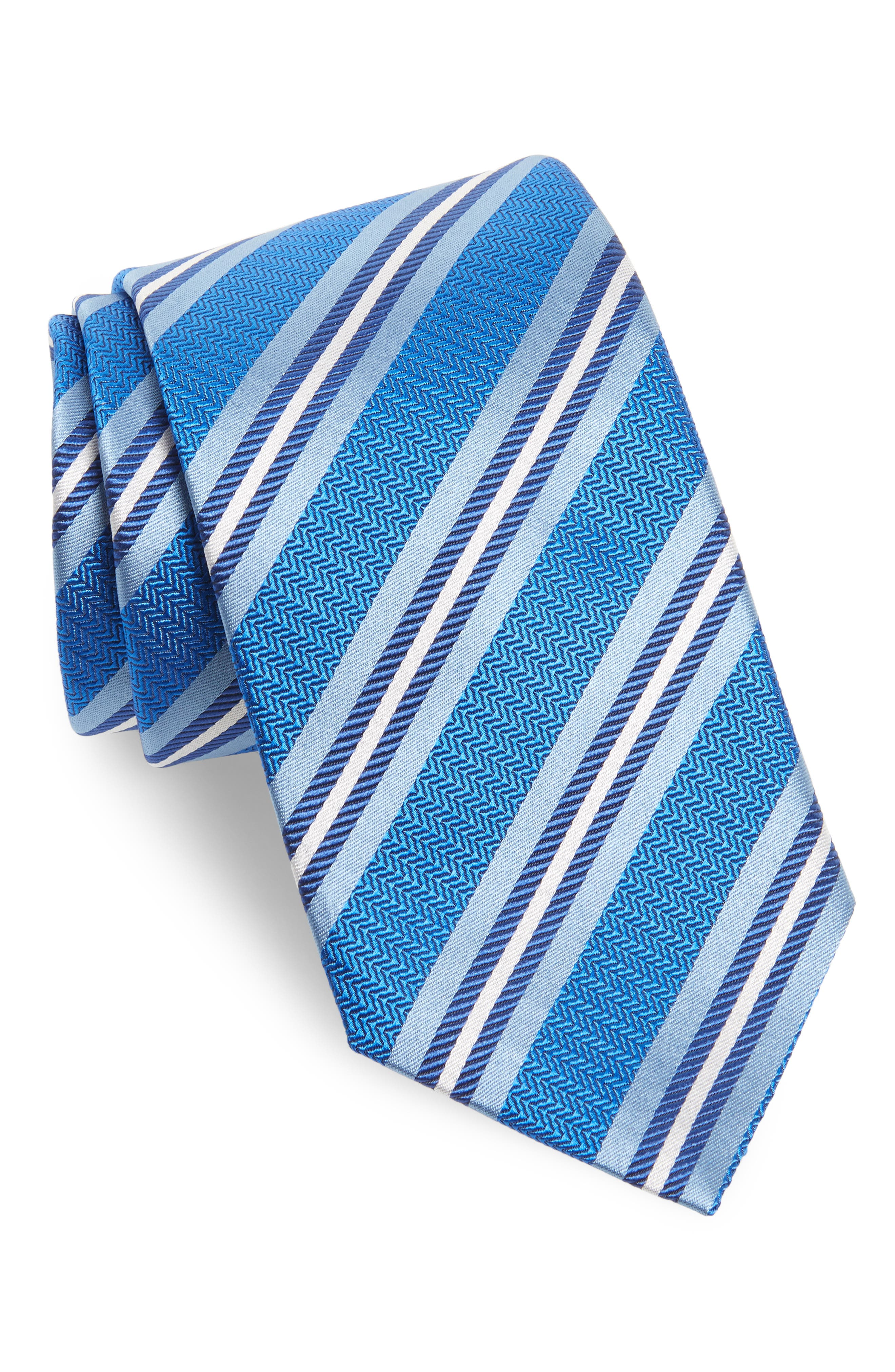 Stripe Silk Tie,                         Main,                         color, Royal