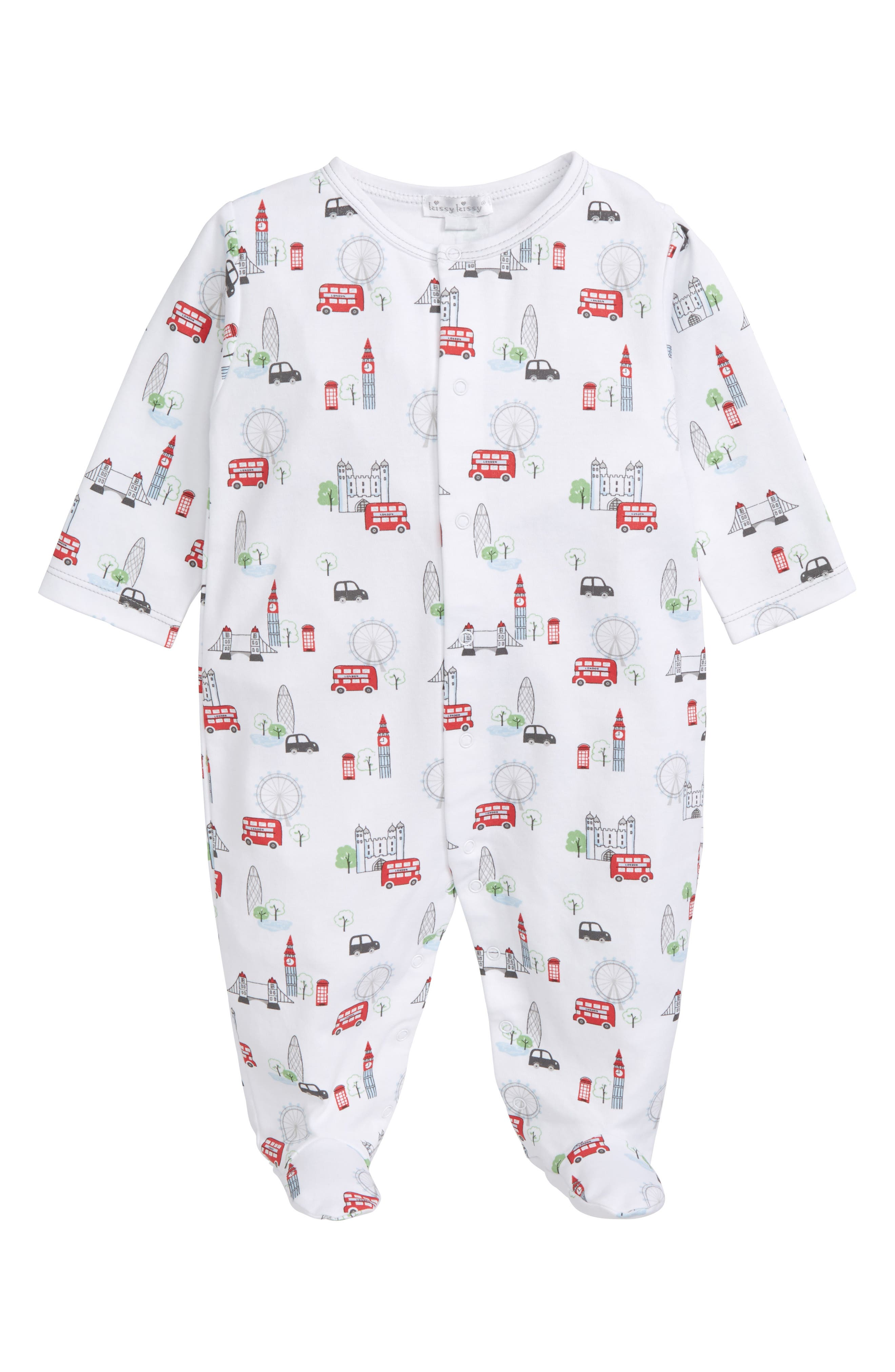 Red Bus Pima Cotton Footie,                             Main thumbnail 1, color,                             Ivory