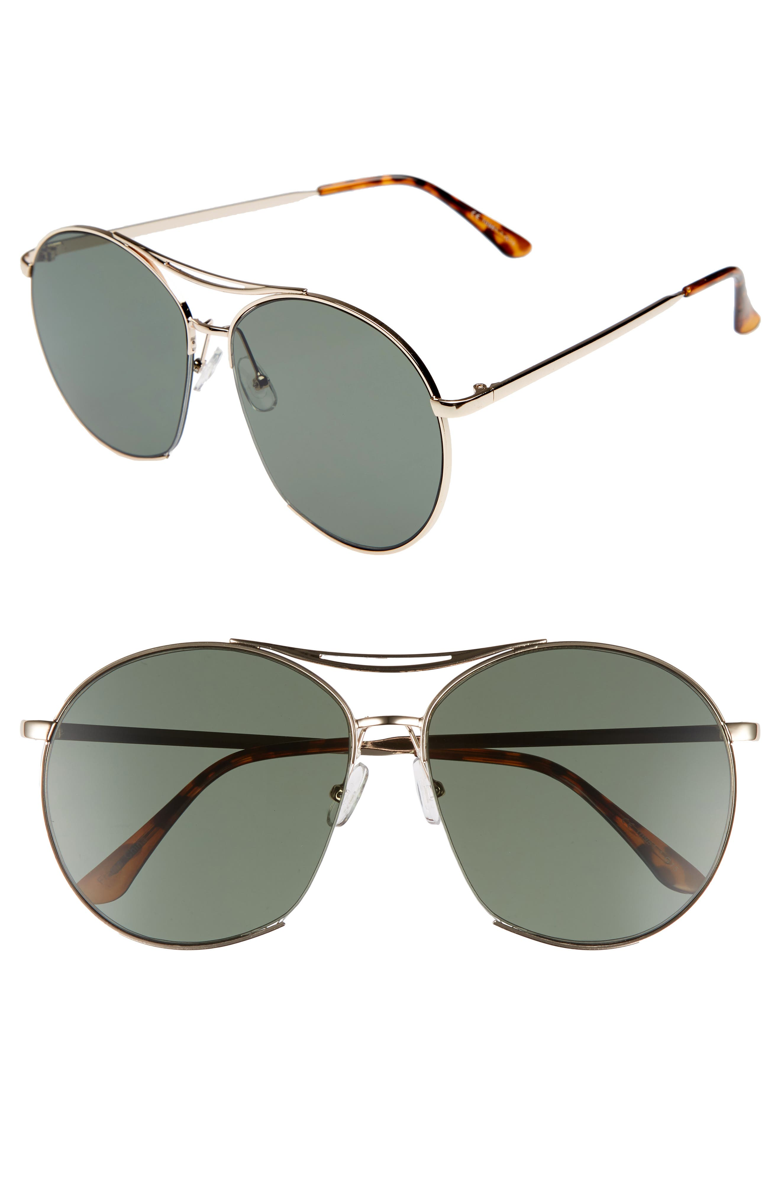 60mm Round Aviator Sunglasses,                             Main thumbnail 1, color,                             Gold