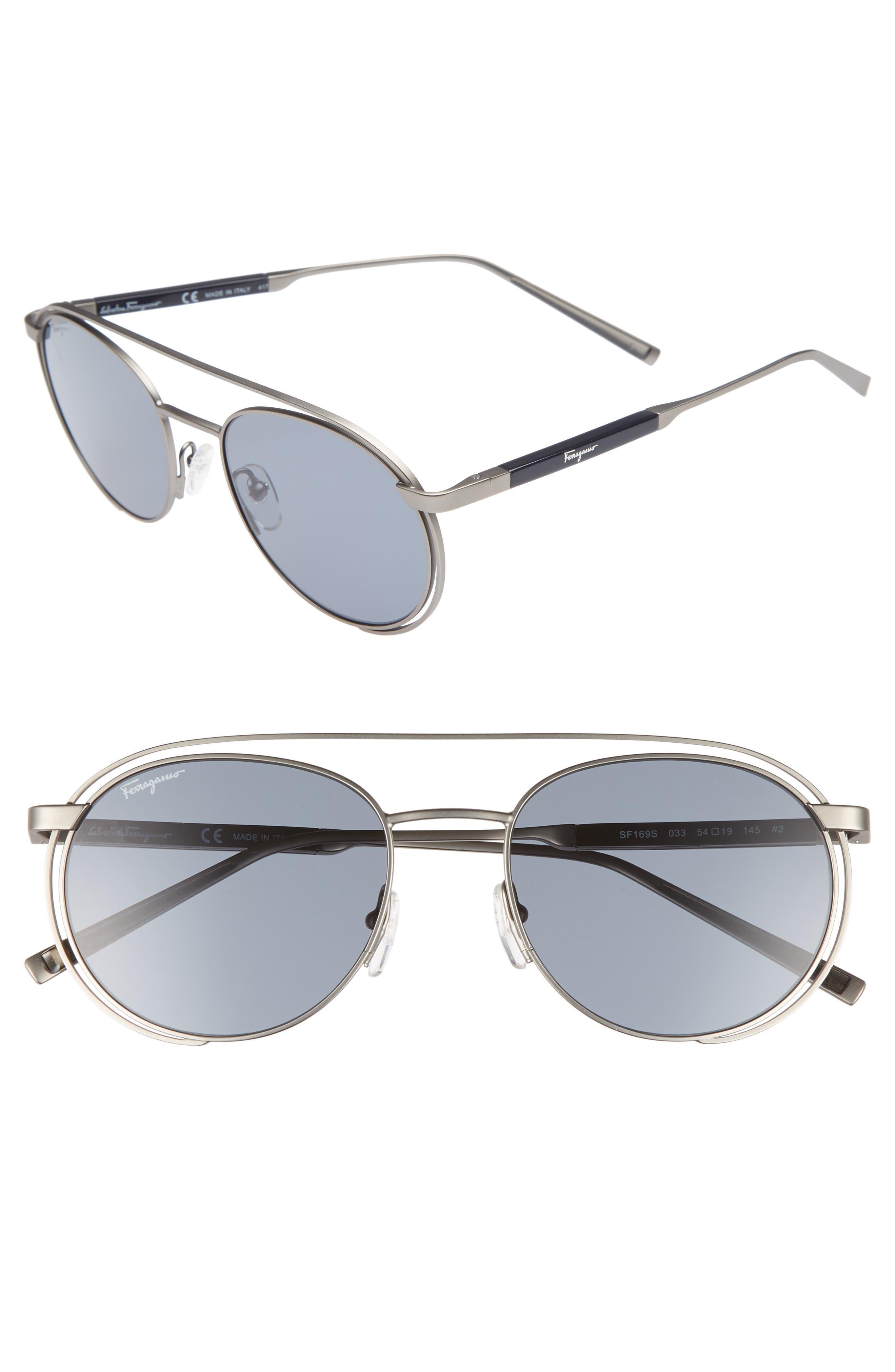 54mm Round Sunglasses,                             Main thumbnail 1, color,                             Matte Gunmetal