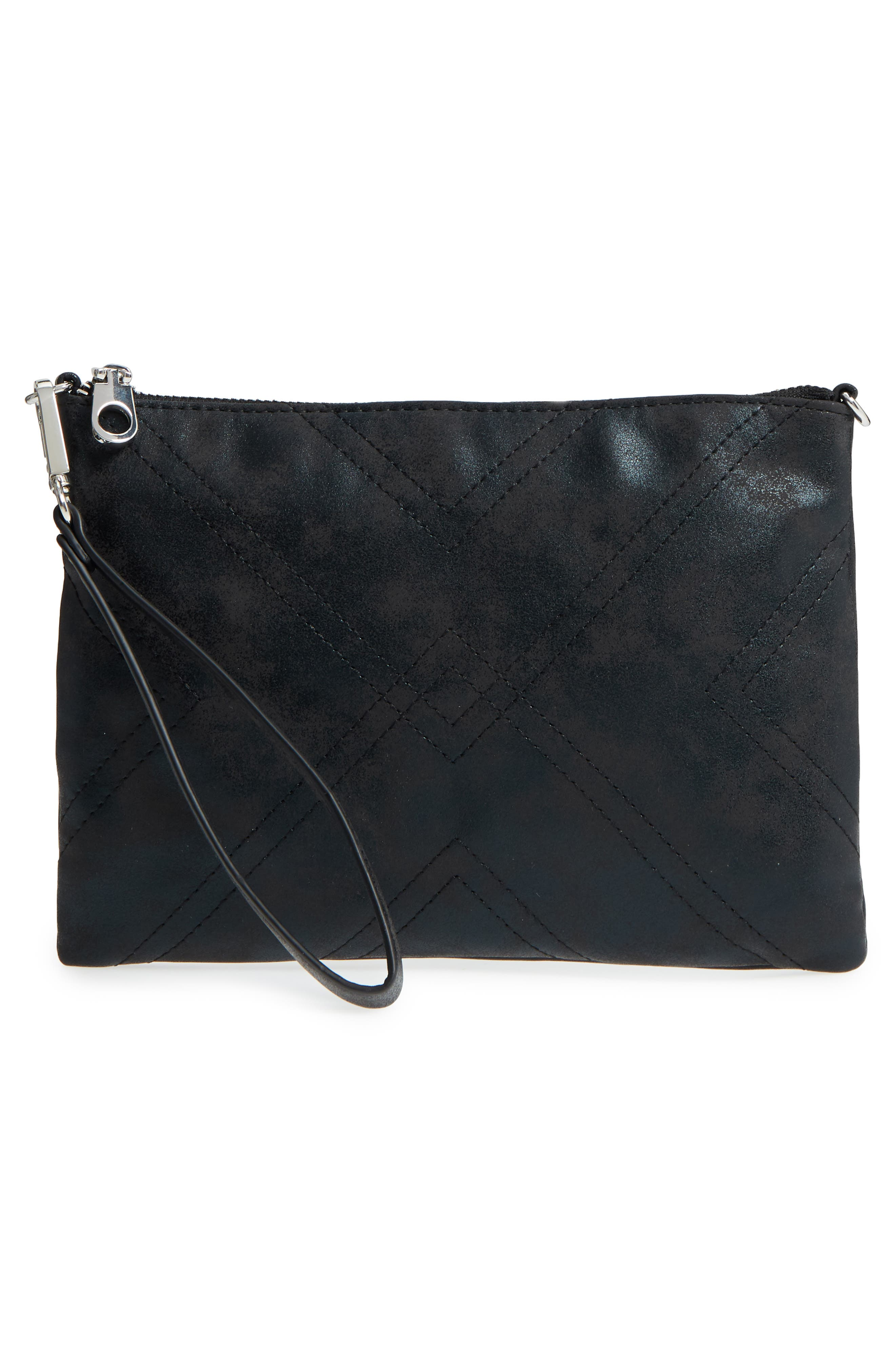 Astley Faux Leather Clutch,                             Alternate thumbnail 3, color,                             Black