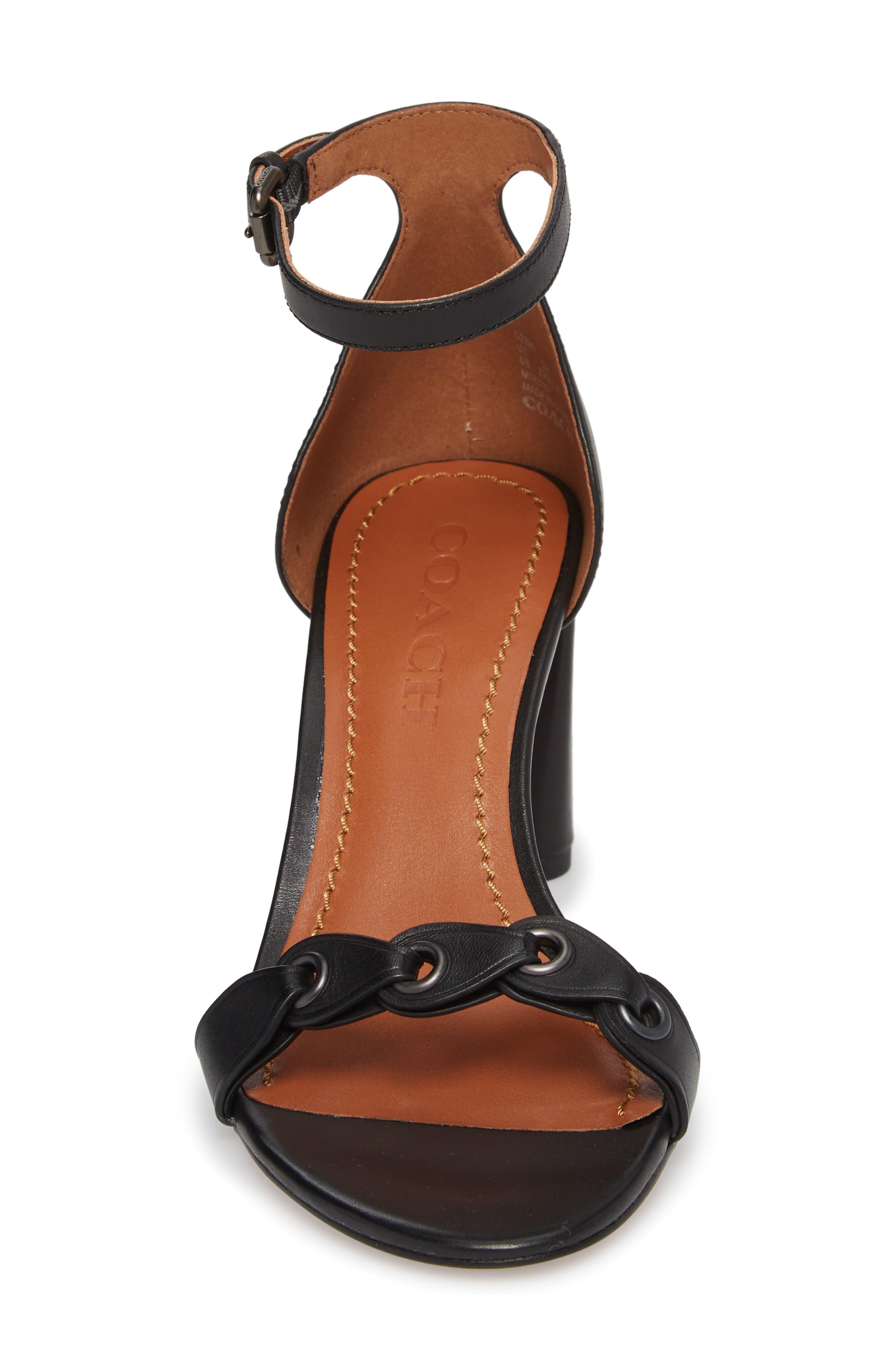 Link Ankle Strap Sandal,                             Alternate thumbnail 4, color,                             Black Leather