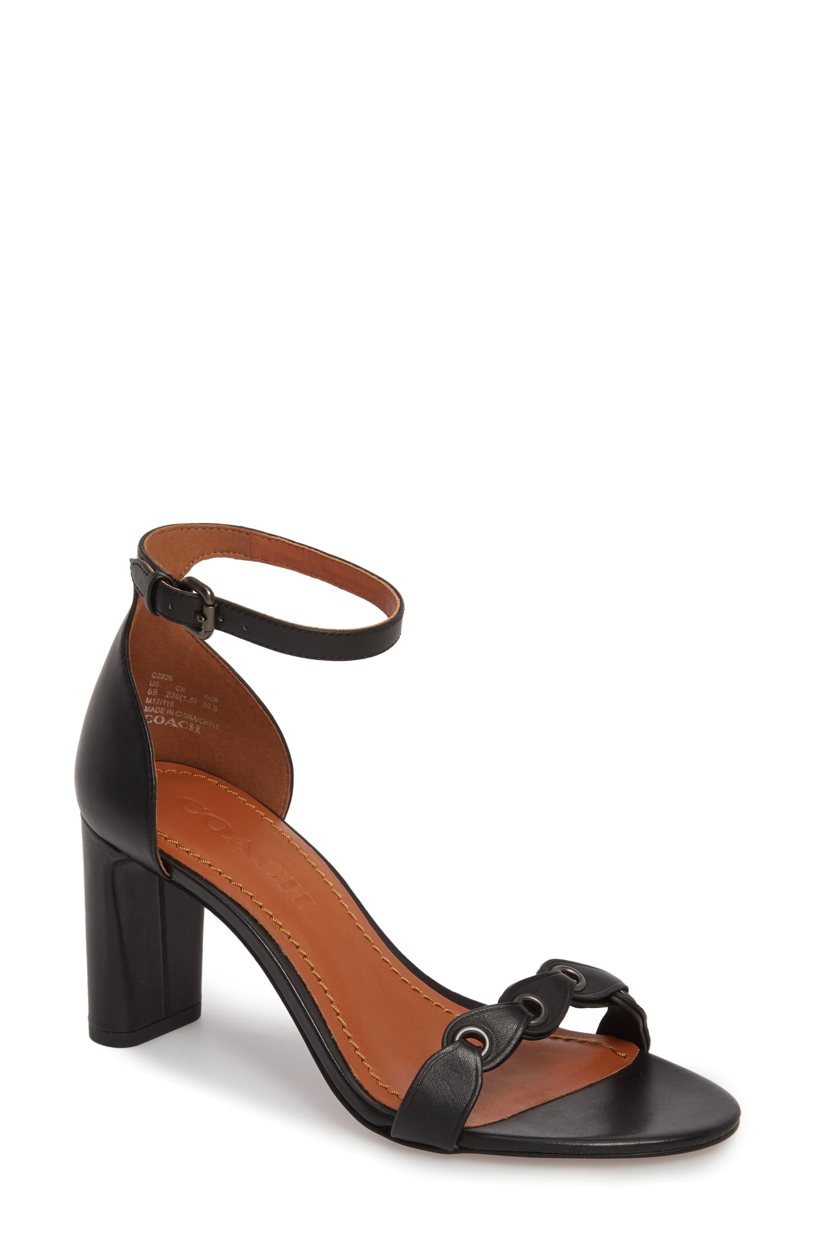 Link Ankle Strap Sandal,                             Main thumbnail 1, color,                             Black Leather