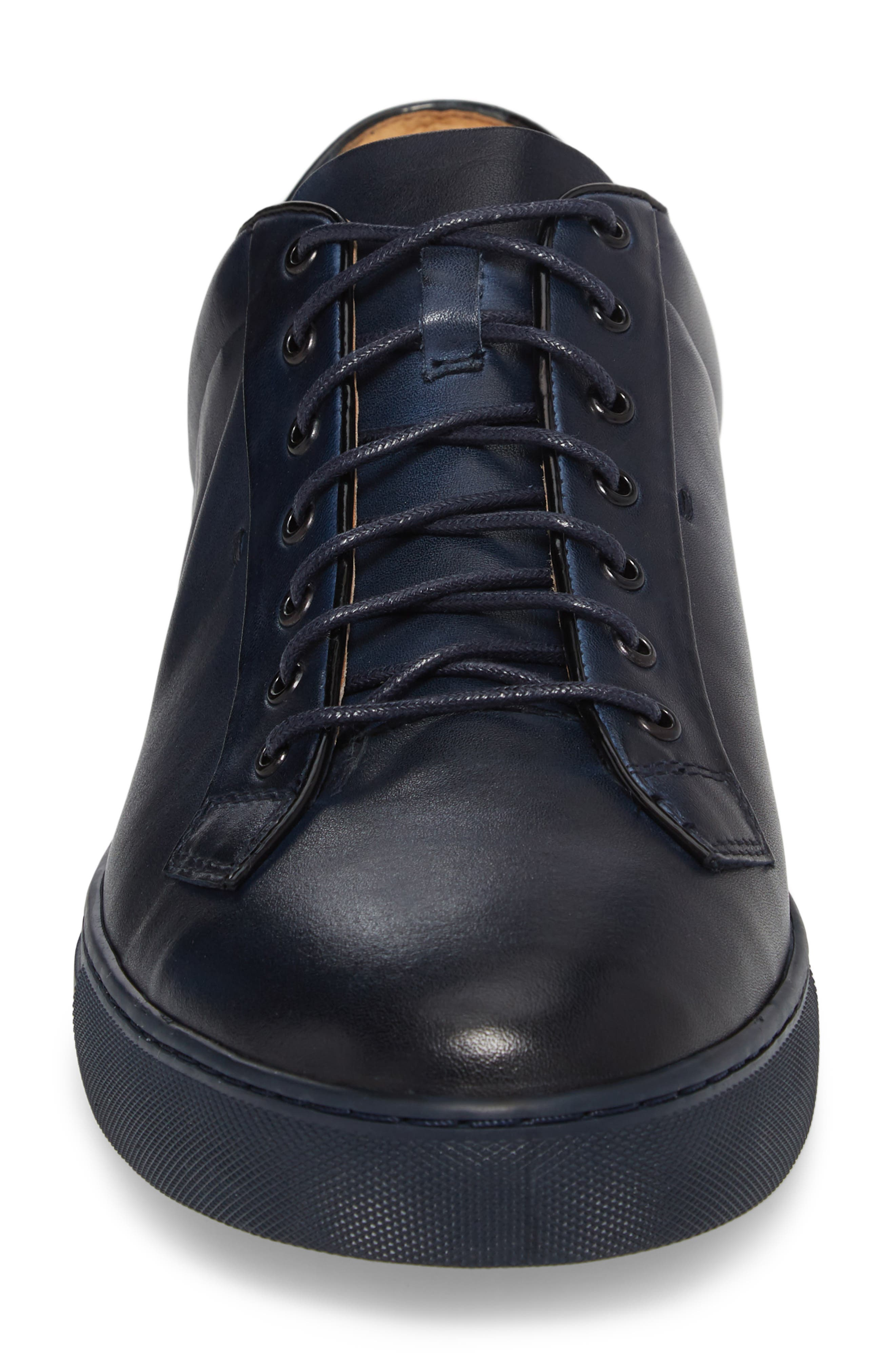 Pitch Low Top Sneaker,                             Alternate thumbnail 4, color,                             Navy Leather/ Suede