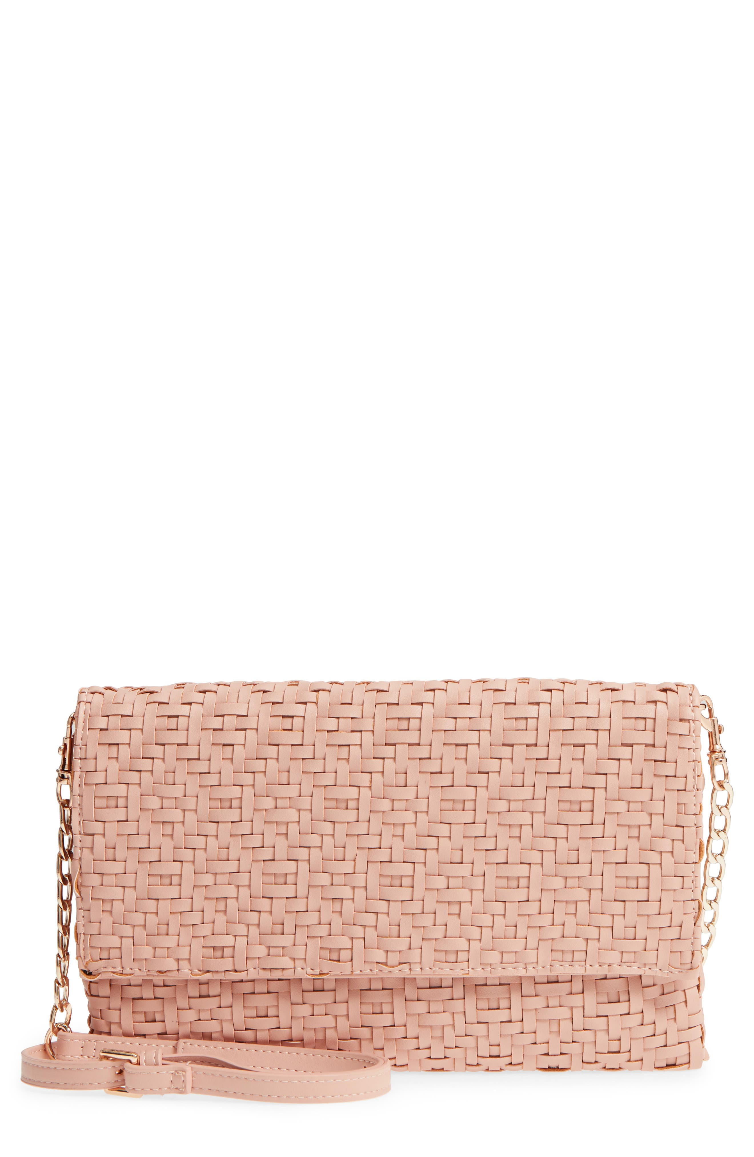 Sole Society Woven Faux Leather Clutch