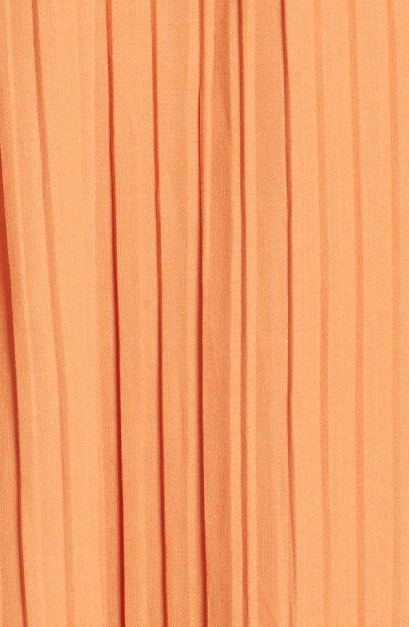 Asymmetrical Ruffle Trim Silk Blend Dress,                             Alternate thumbnail 5, color,                             Orange