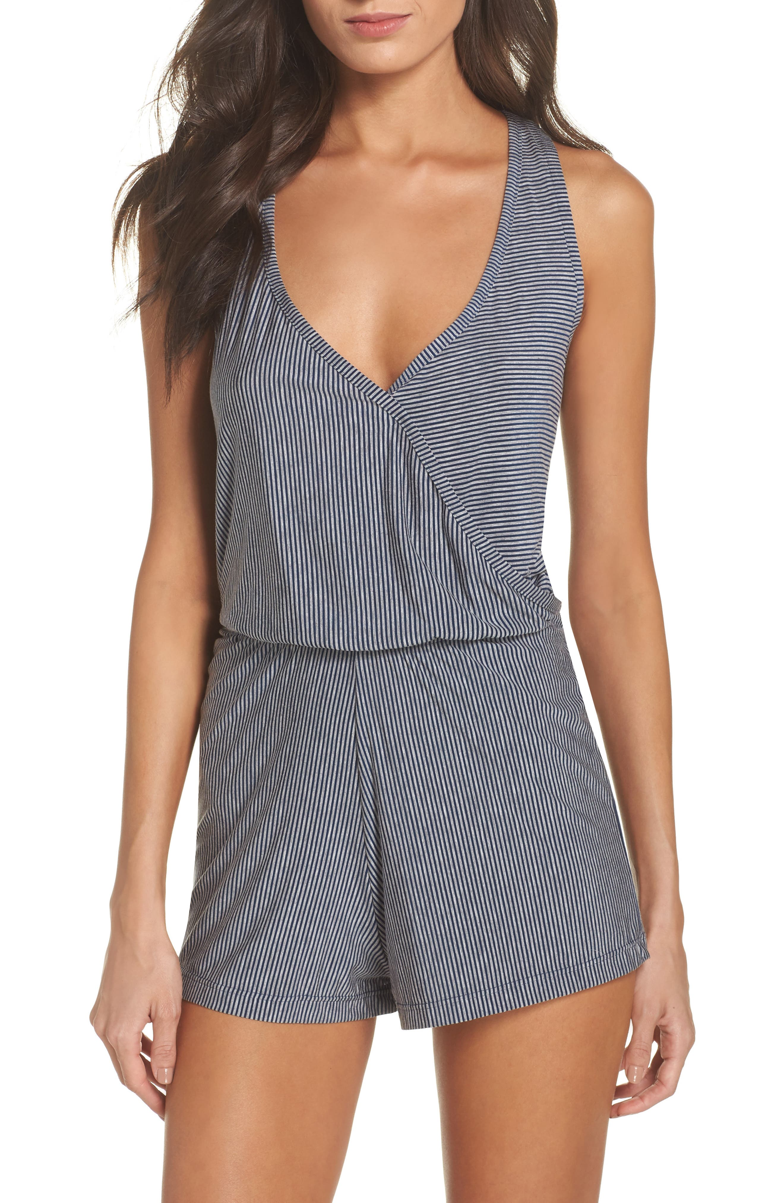 Amalfi Cross Back Romper,                         Main,                         color, Heather Grey/ Navy