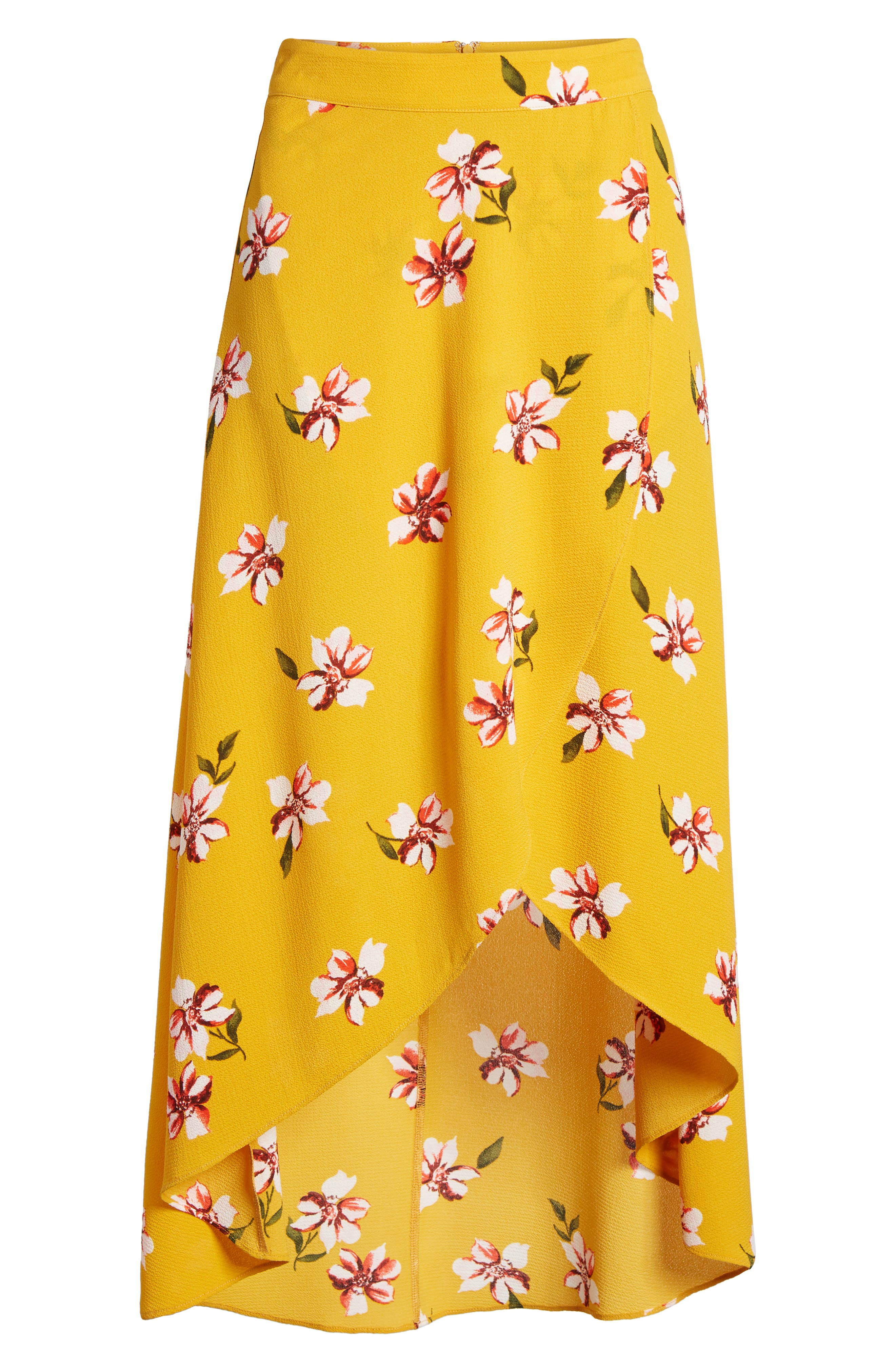 Floral Surplice Skirt,                             Alternate thumbnail 7, color,                             Mustard Floral