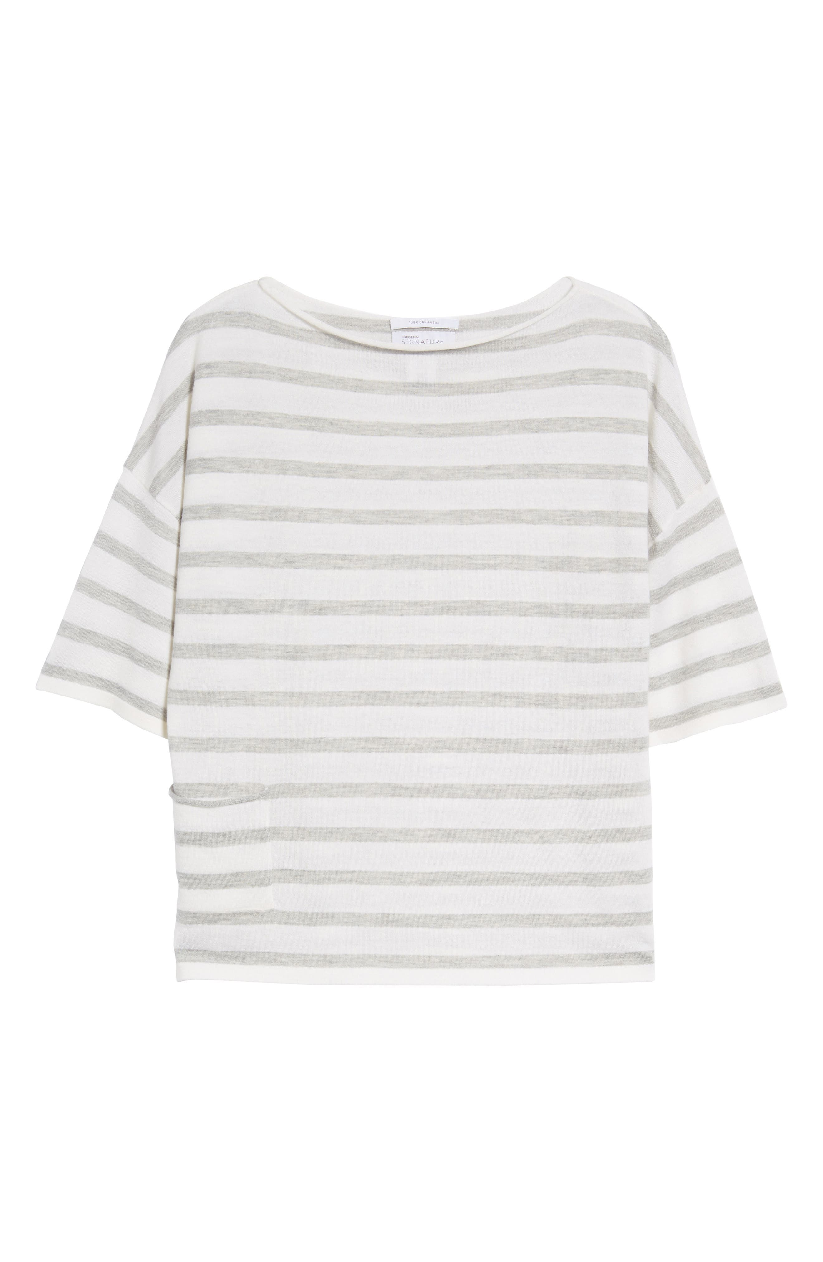 Stripe Cashmere Sweater,                             Alternate thumbnail 7, color,                             Ivory- Grey Heather Stripe