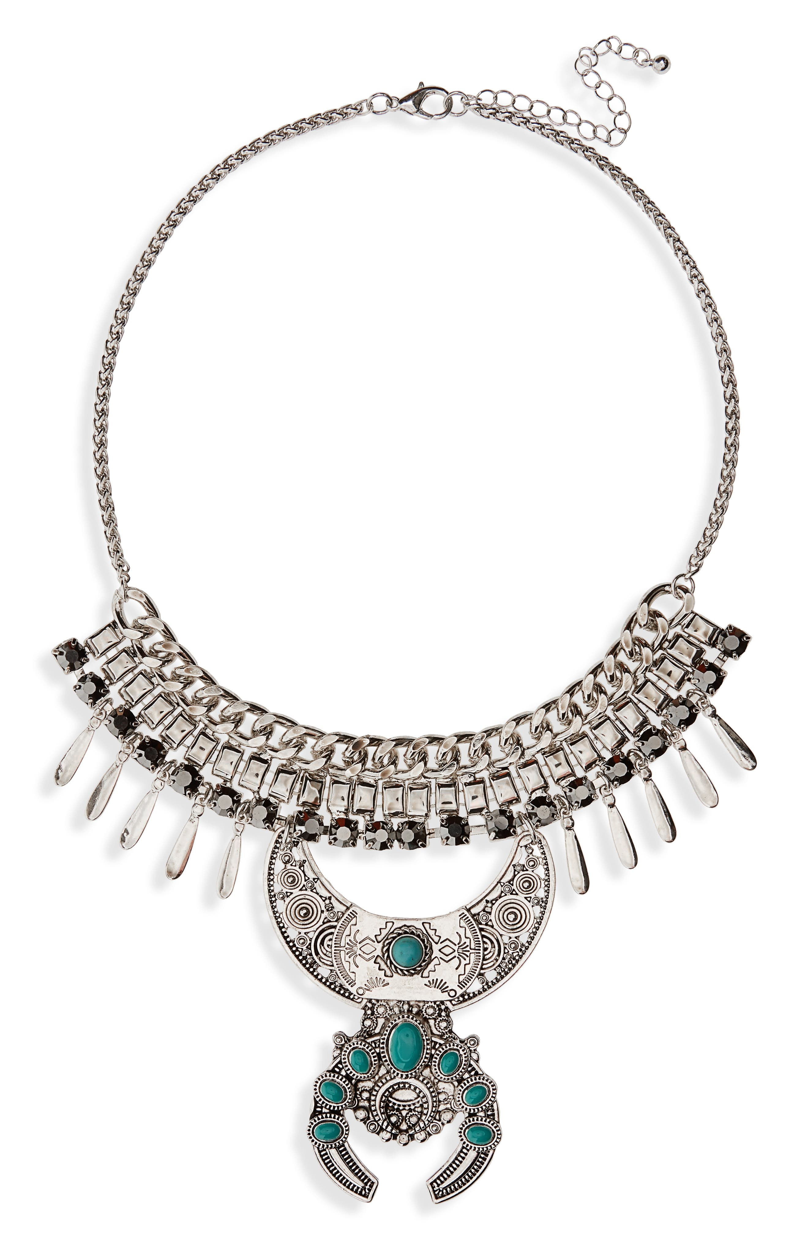 Etched Charm Statement Necklace,                             Main thumbnail 1, color,                             Burnish Silver/ Turquoise