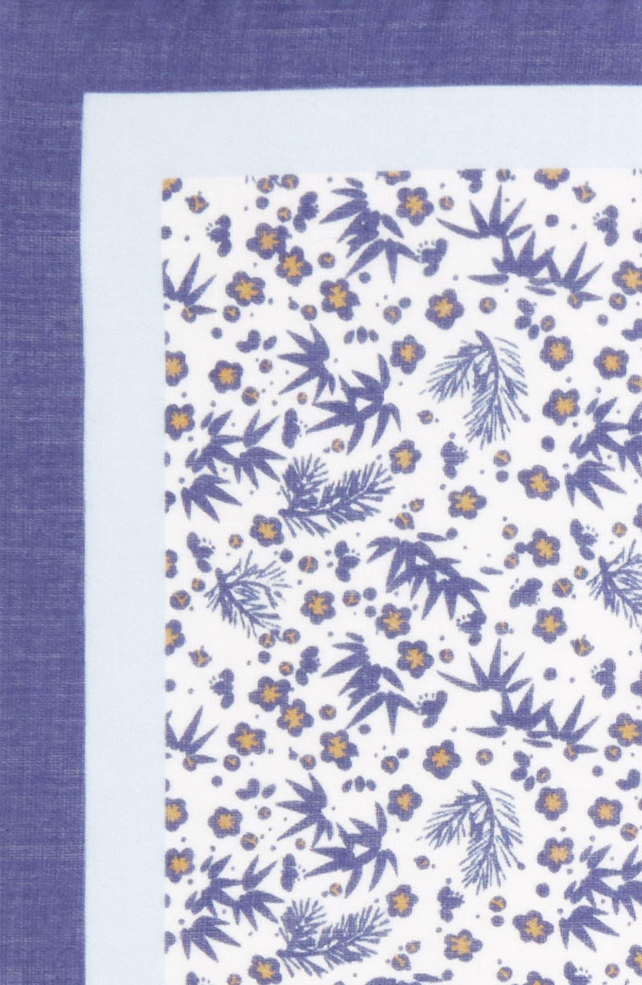 Floral Print Silk Pocket Square,                             Alternate thumbnail 3, color,                             White